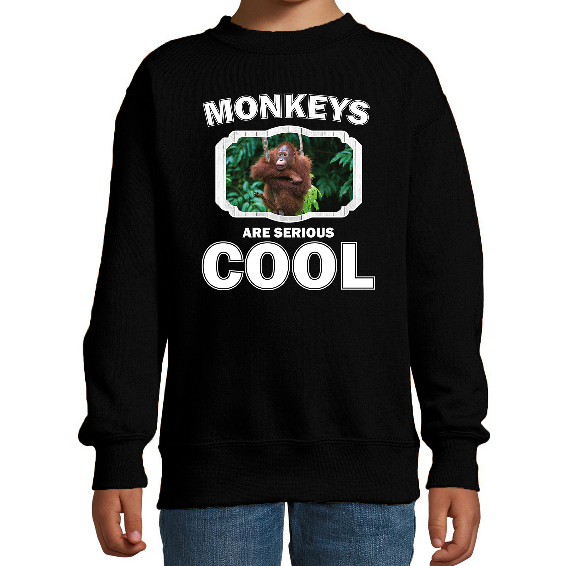 Sweater monkeys are serious cool zwart kinderen - Apen/ orangoetan trui