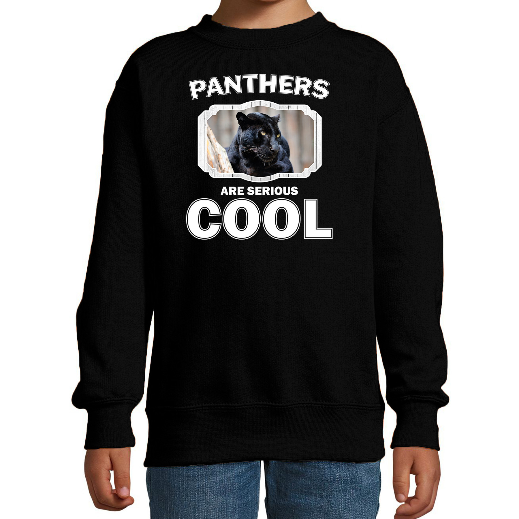 Sweater panthers are serious cool zwart kinderen - panters/ zwarte panter trui