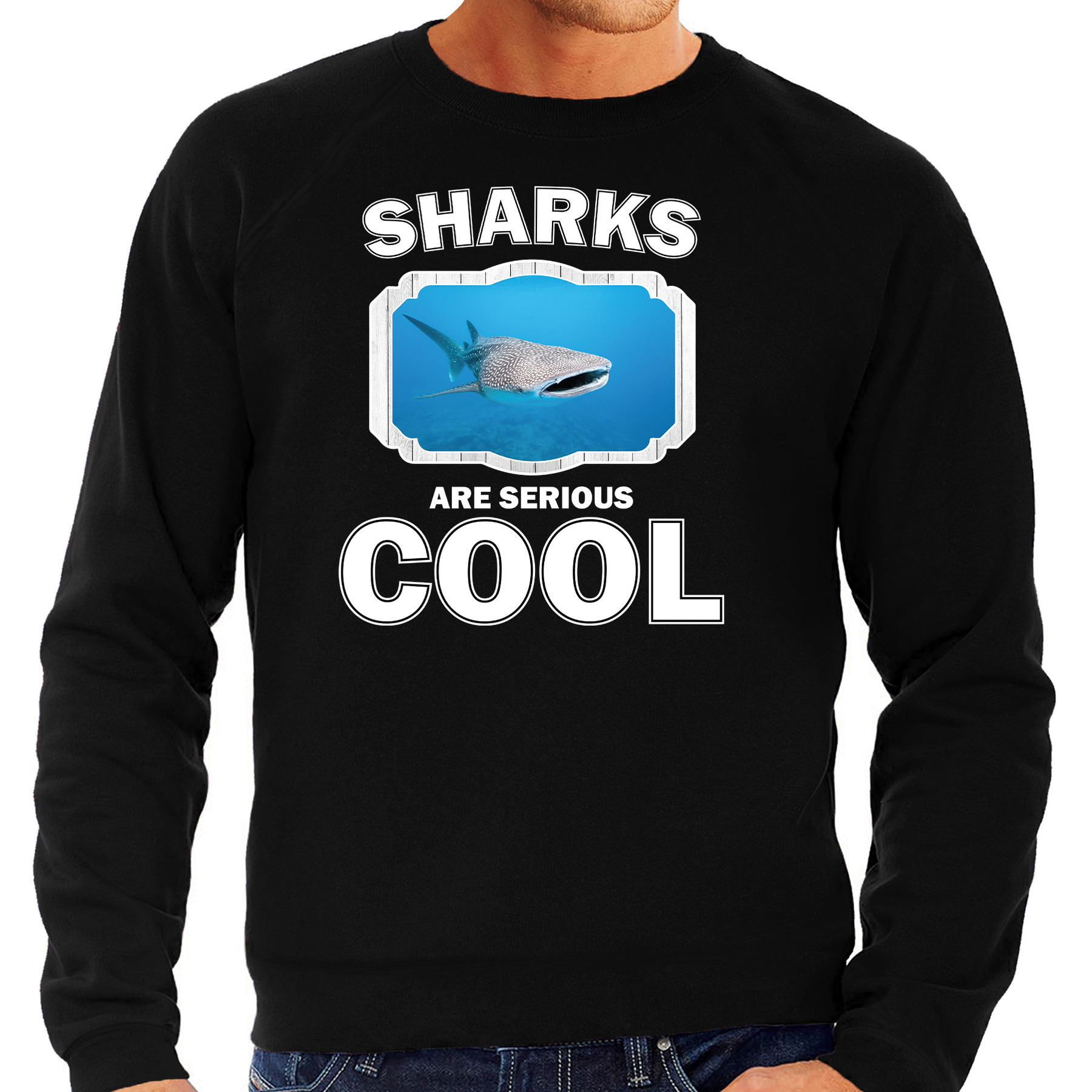 Sweater sharks are serious cool zwart heren - haaien/ walvishaai trui