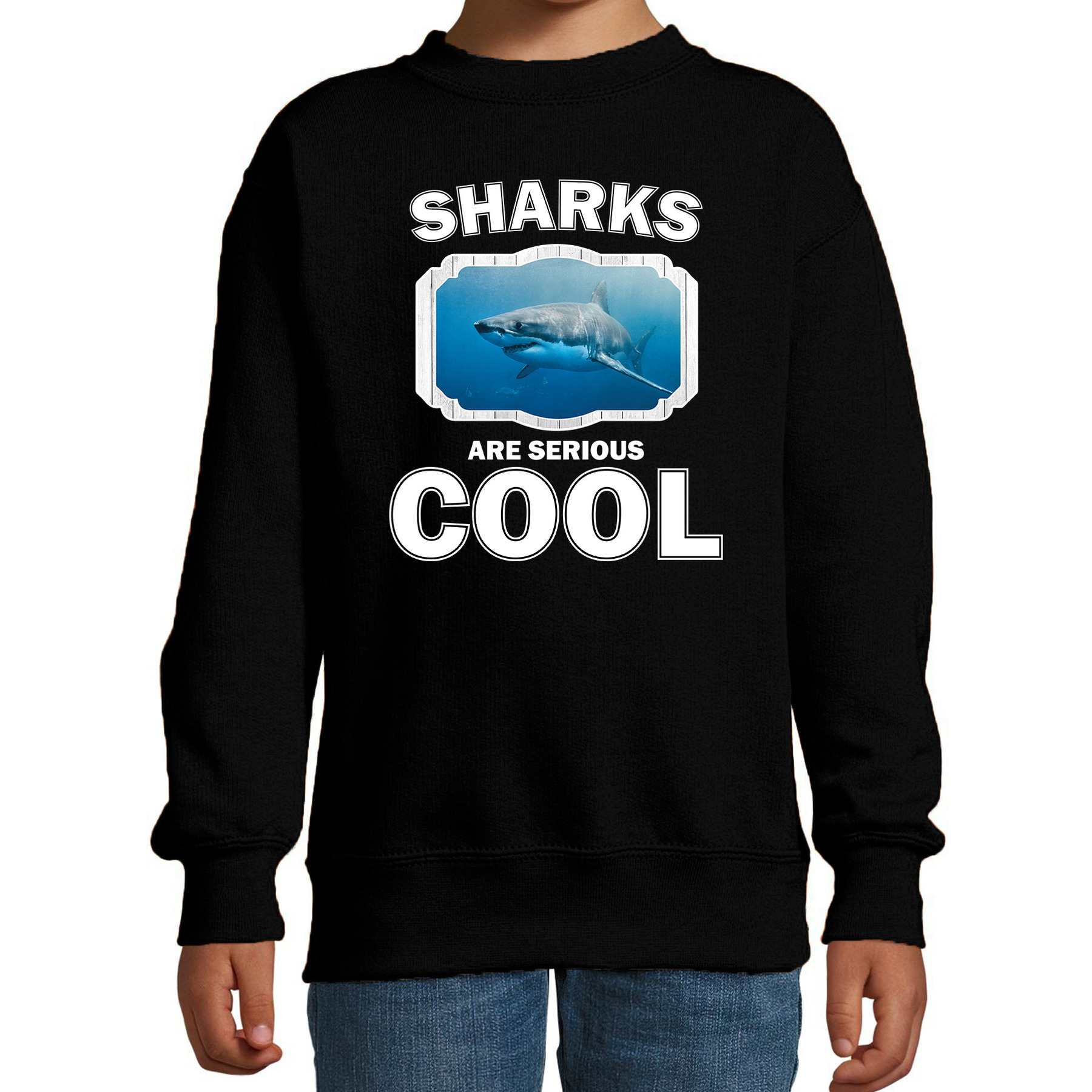 Sweater sharks are serious cool zwart kinderen - haaien/ haai trui