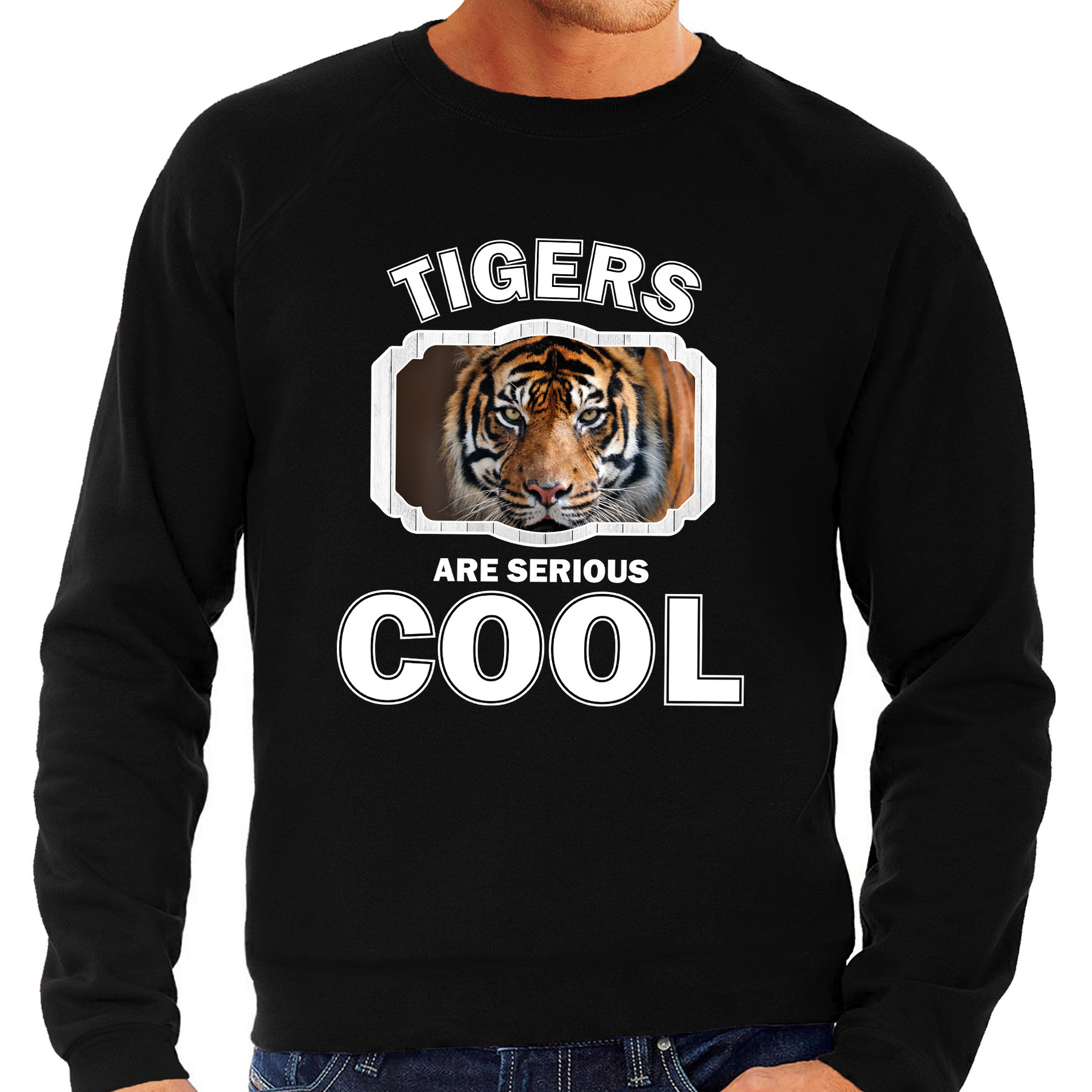 Sweater tigers are serious cool zwart heren - tijgers/ tijger trui