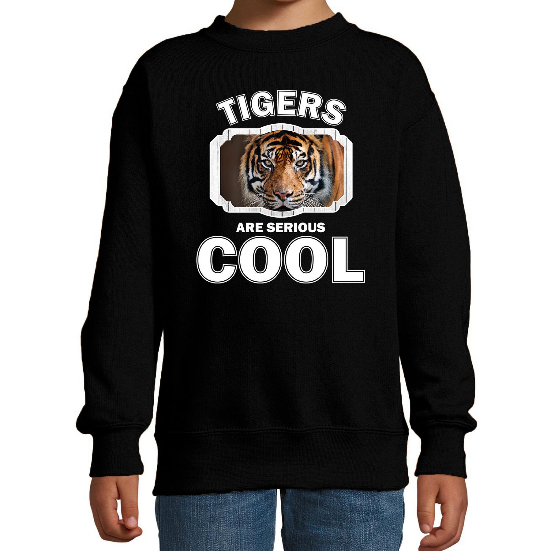 Sweater tigers are serious cool zwart kinderen - tijgers/ tijger trui