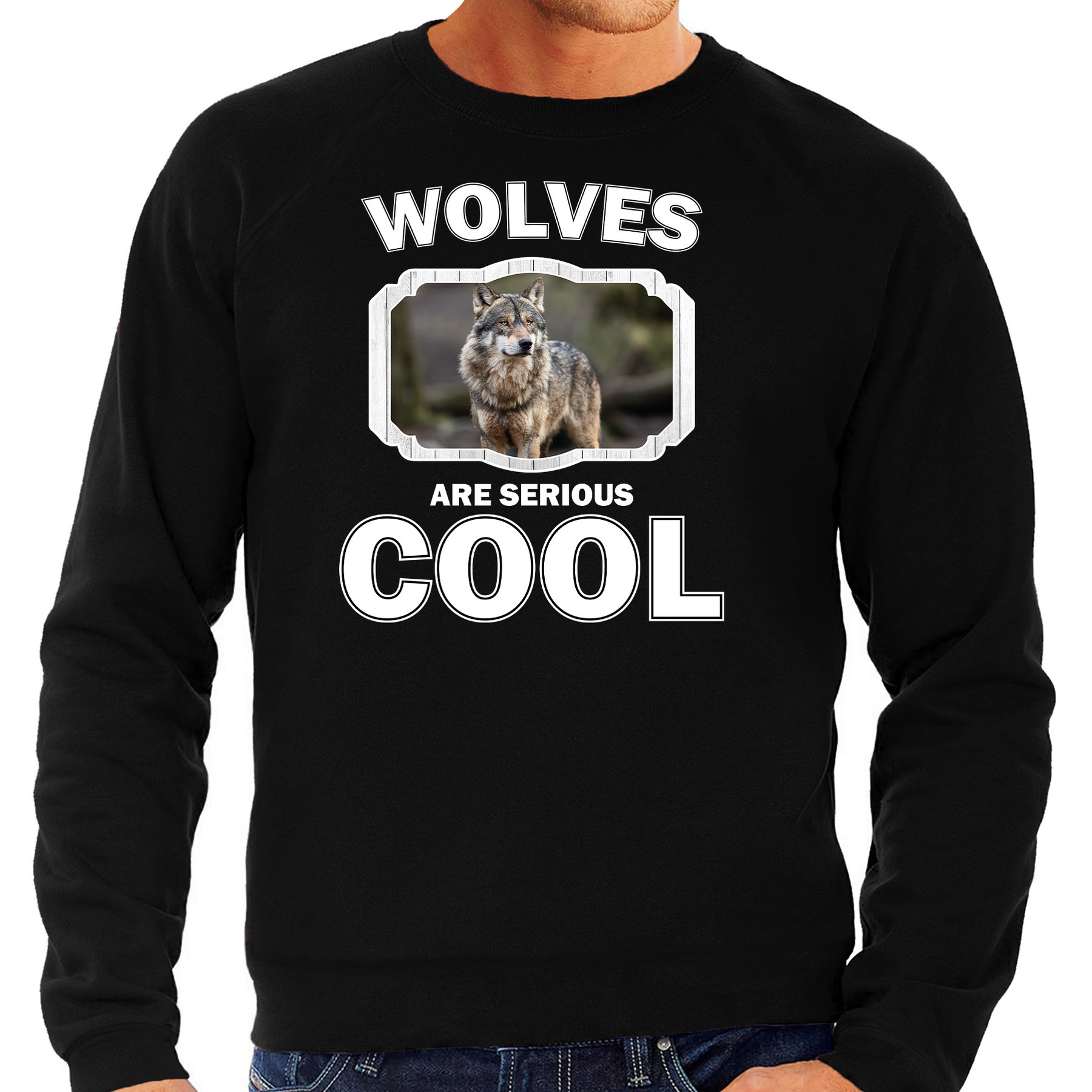 Sweater wolfs are serious cool zwart heren - wolven/ wolf trui