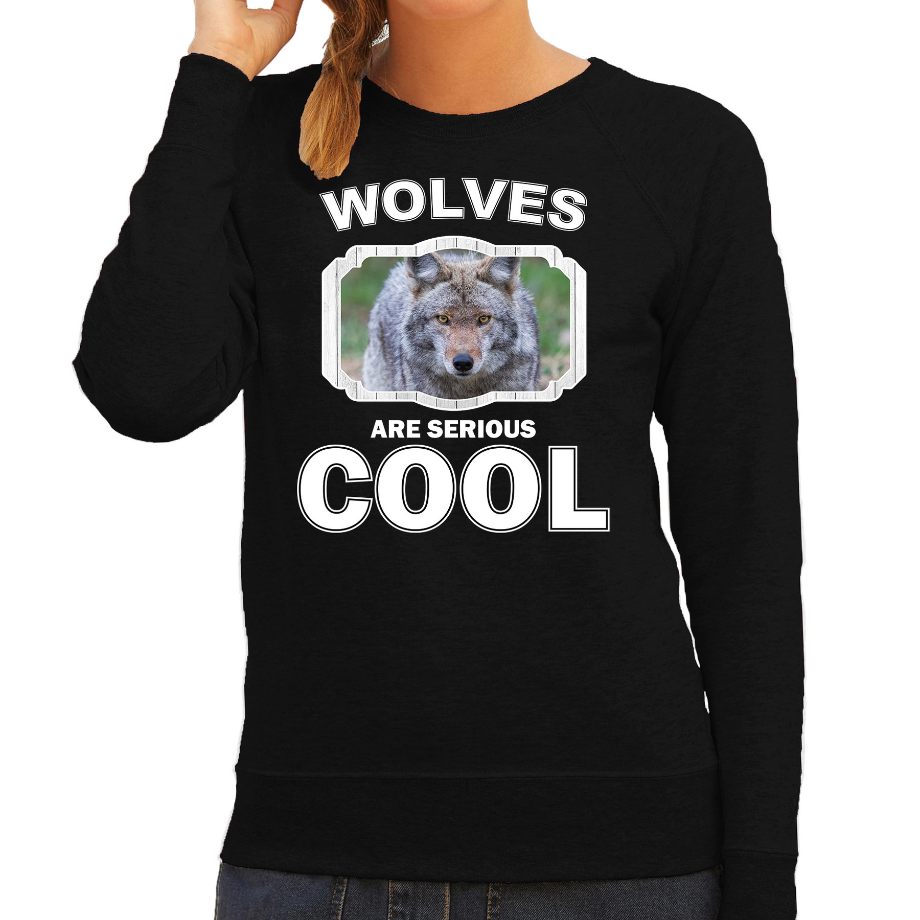 Sweater wolves are serious cool zwart dames - wolven/ wolf trui