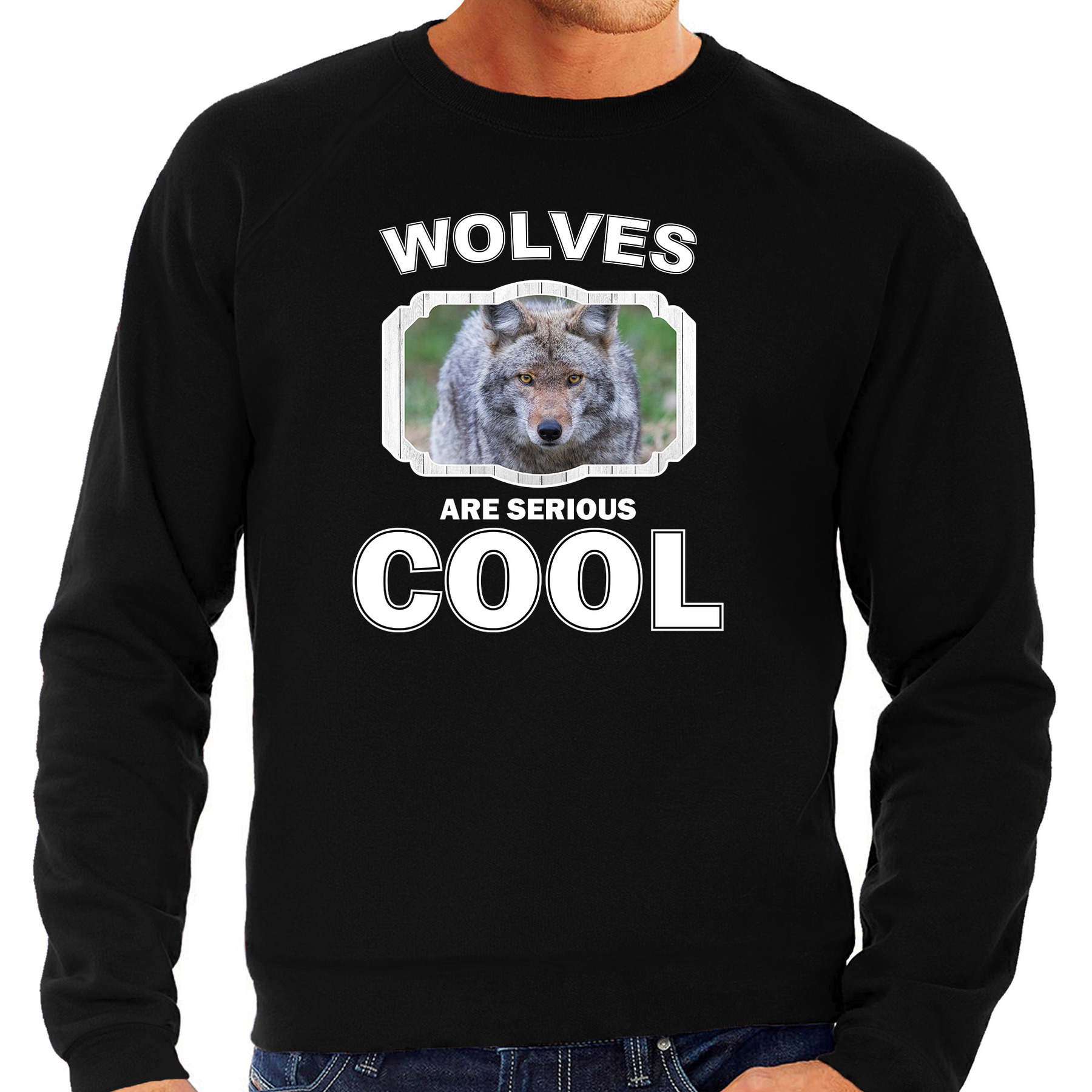 Sweater wolves are serious cool zwart heren - wolven/ wolf trui