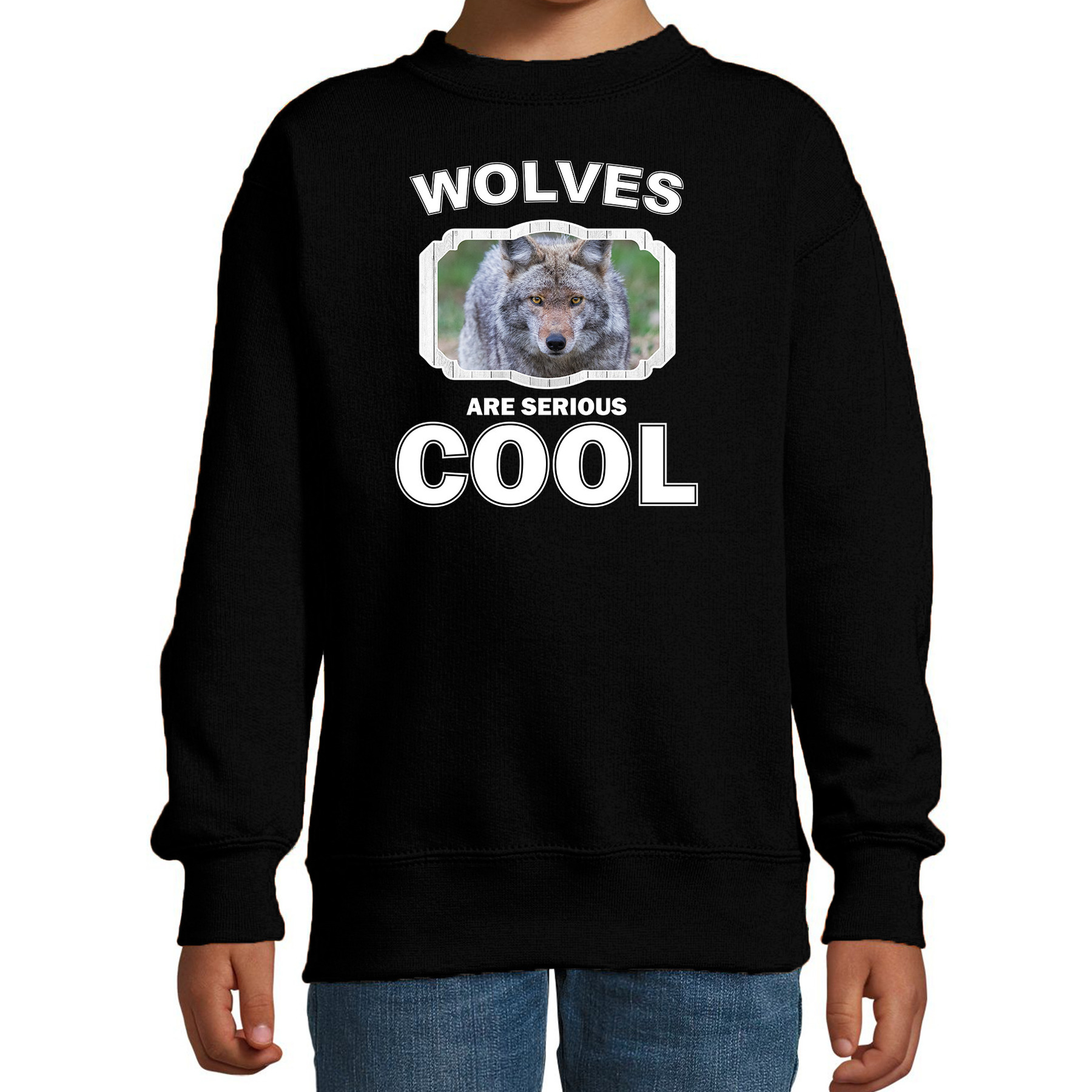 Sweater wolves are serious cool zwart kinderen - wolven/ wolf trui