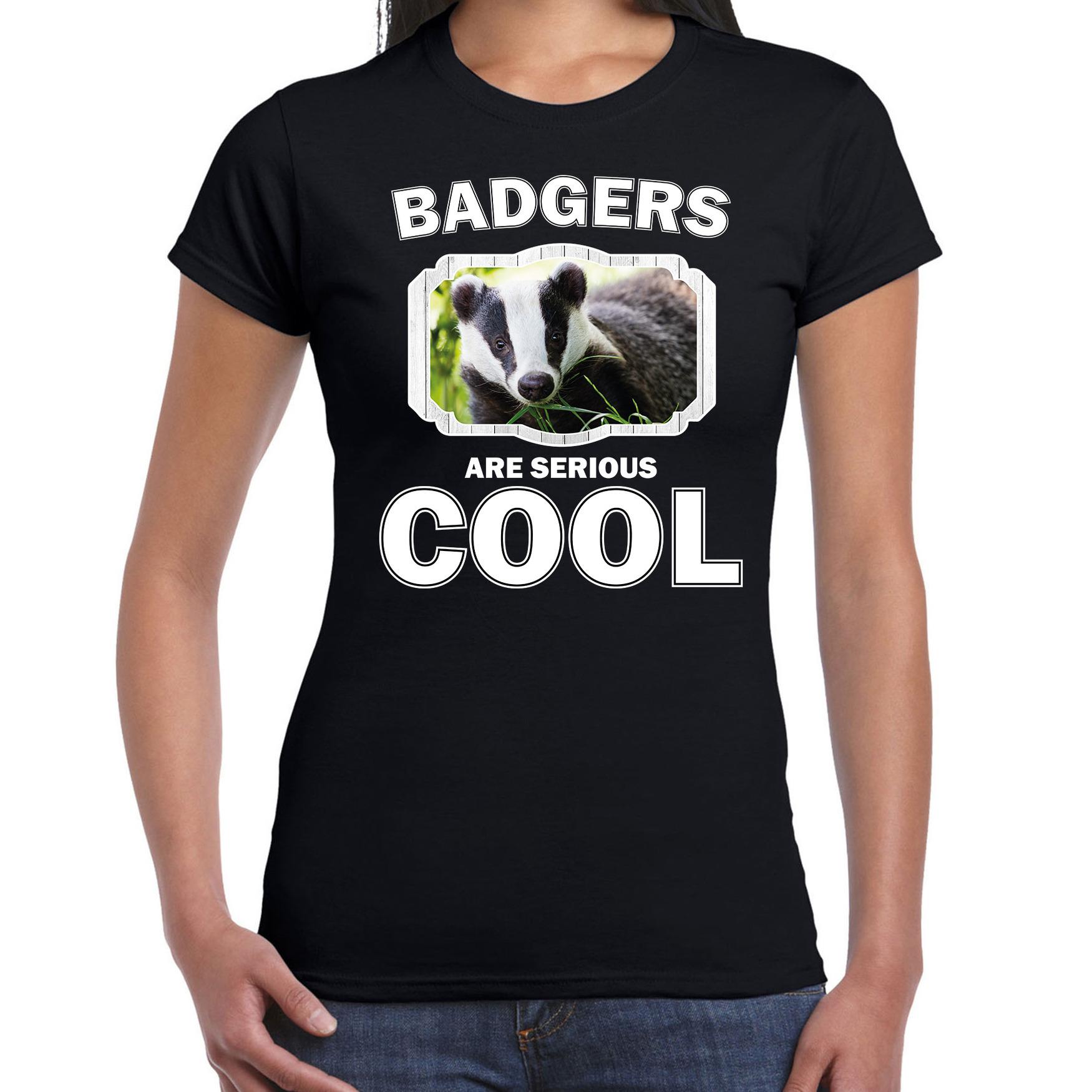 T-shirt badgers are serious cool zwart dames - dassen/ das shirt