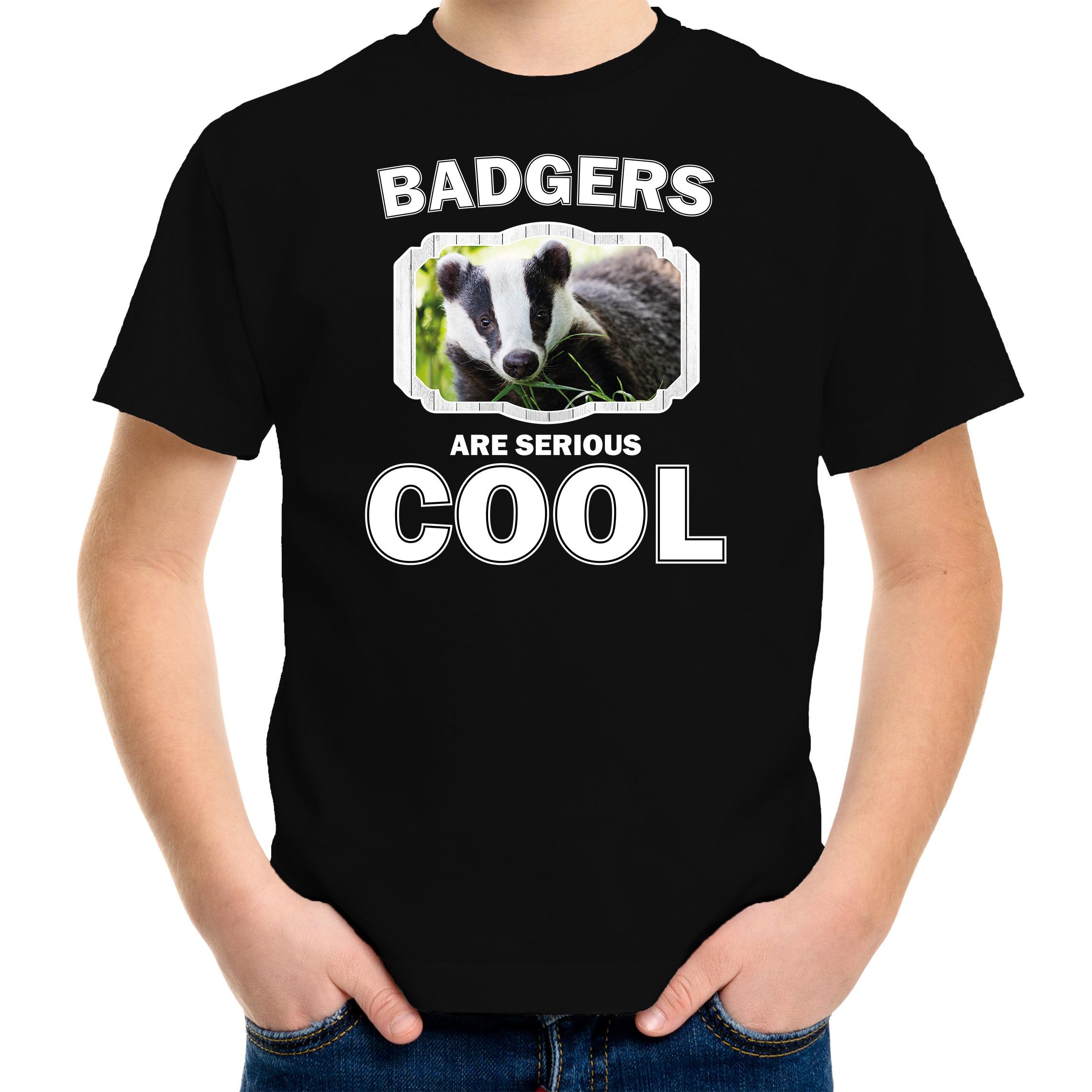 T-shirt badgers are serious cool zwart kinderen - dassen/ das shirt