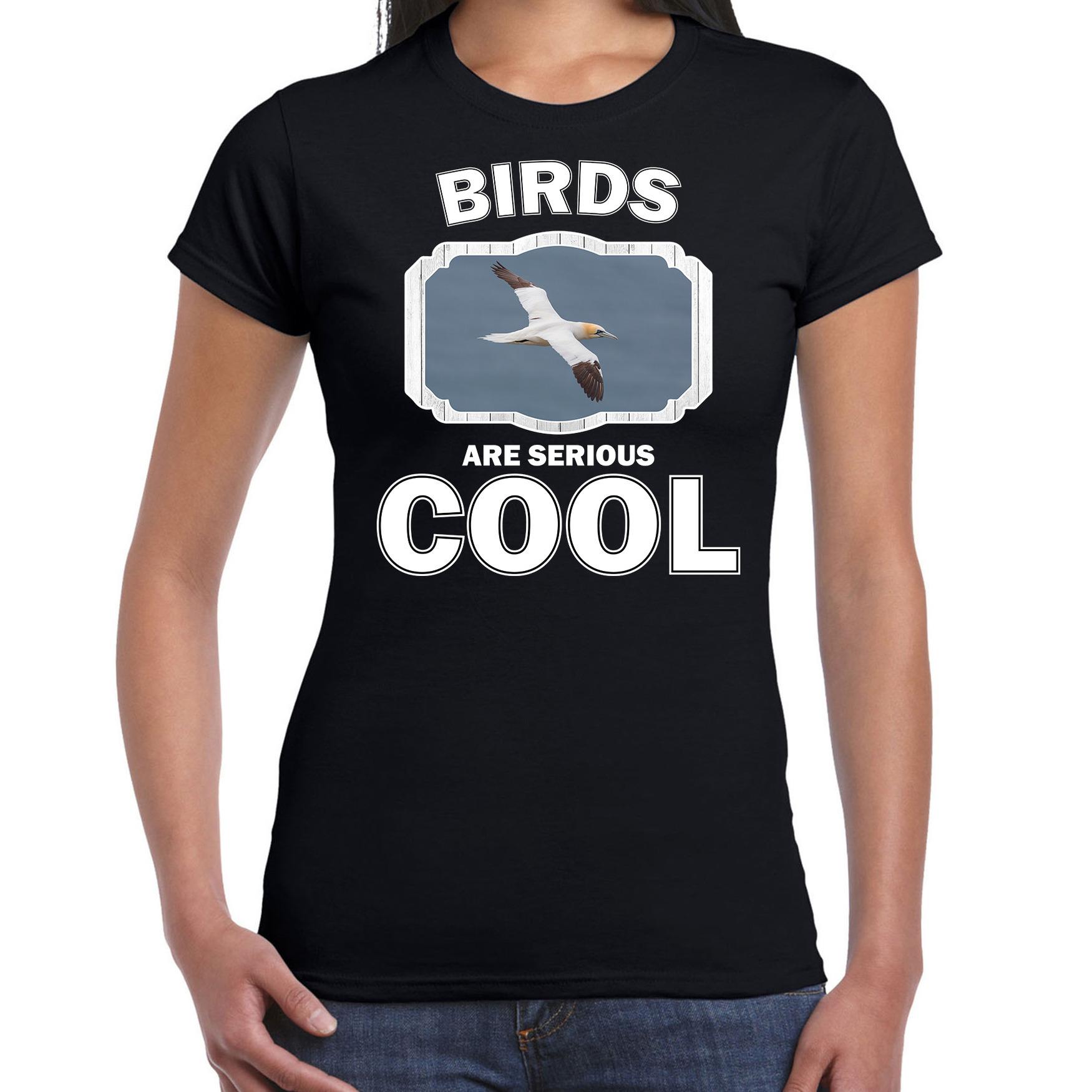T-shirt birds are serious cool zwart dames - vogels/ jan van gent vogel shirt