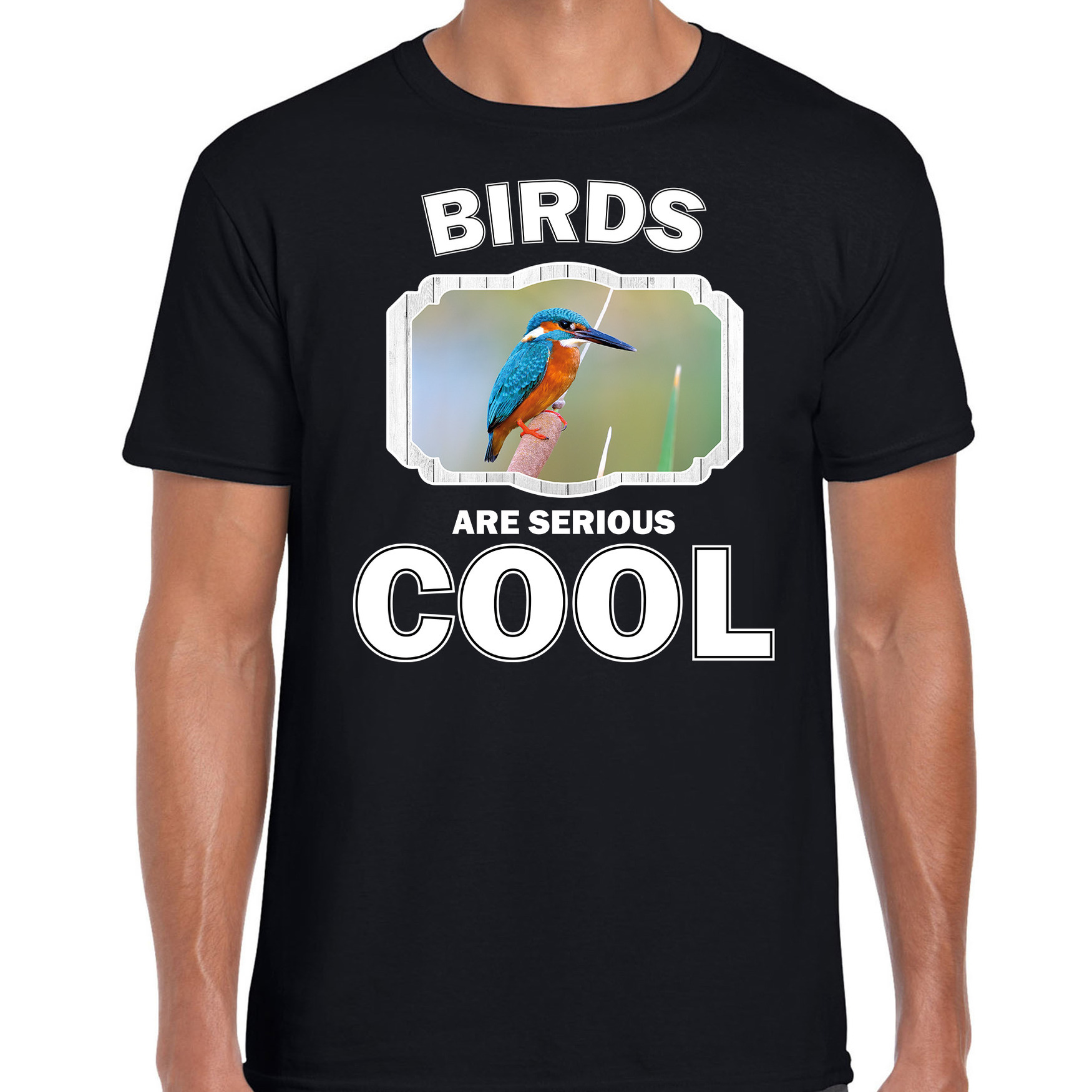 T-shirt birds are serious cool zwart heren - vogels/ ijsvogel shirt