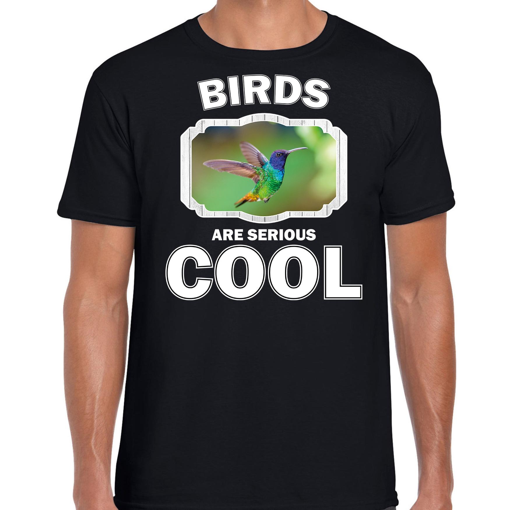 T-shirt birds are serious cool zwart heren - vogels/ kolibrie vogel shirt