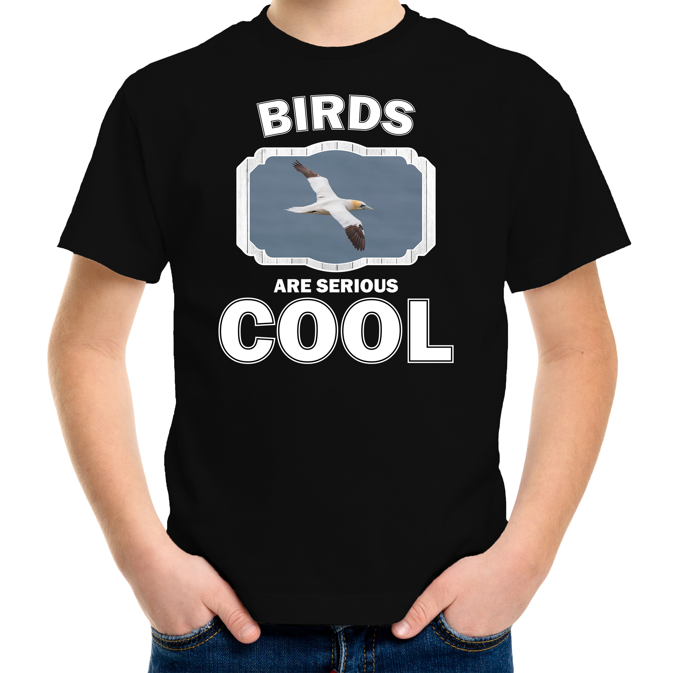 T-shirt birds are serious cool zwart kinderen - vogels/ jan van gent vogel shirt