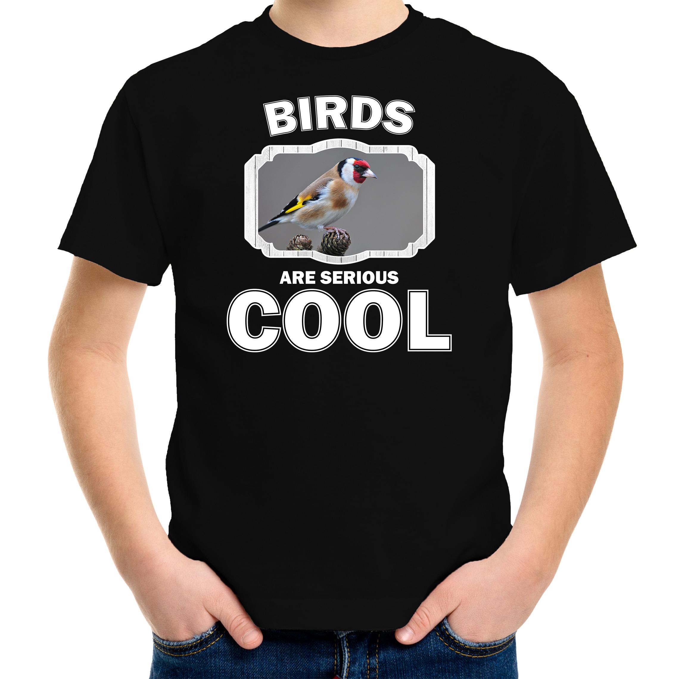 T-shirt birds are serious cool zwart kinderen - vogels/ putter vogel shirt