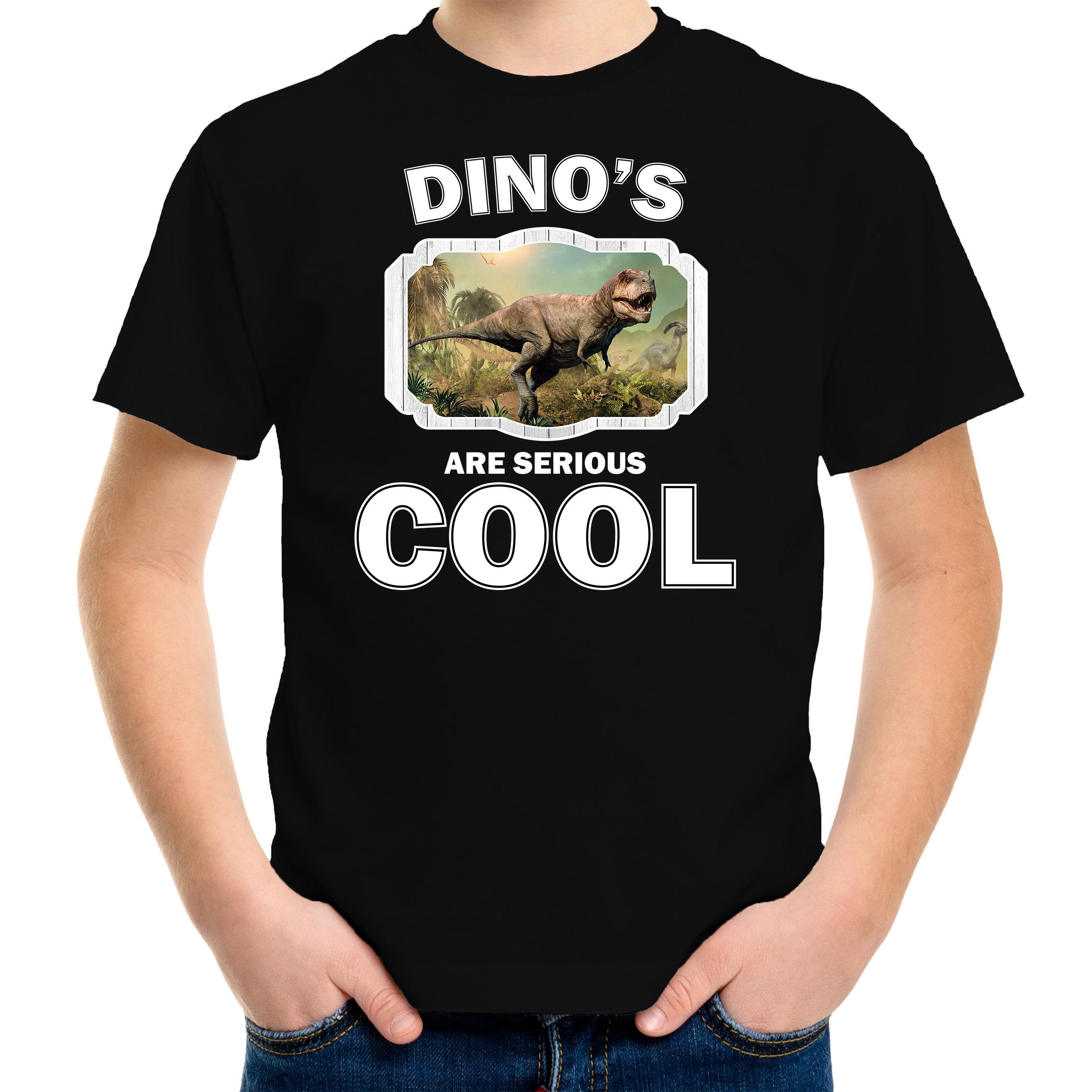 T-shirt dinosaurs are serious cool zwart kinderen - dinosaurussen/ stoere t-rex dinosaurus shirt