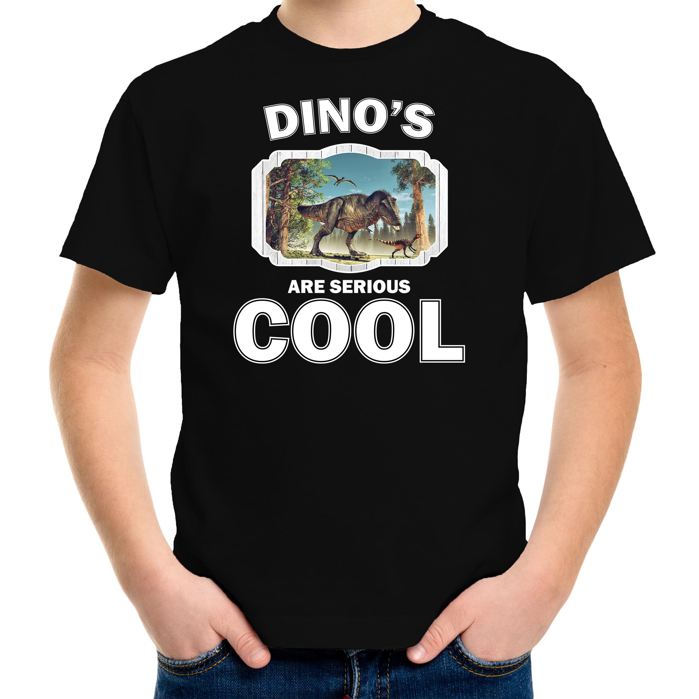 T-shirt dinosaurs are serious cool zwart kinderen - dinosaurussen/ t-rex dinosaurus shirt