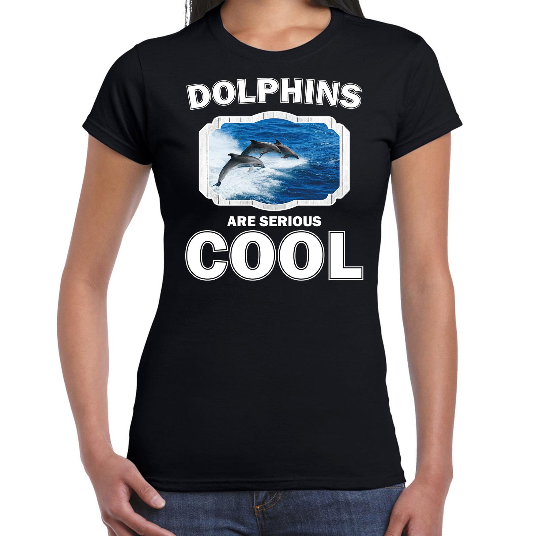 T-shirt dolphins are serious cool zwart dames - dolfijnen/ dolfijn groep shirt