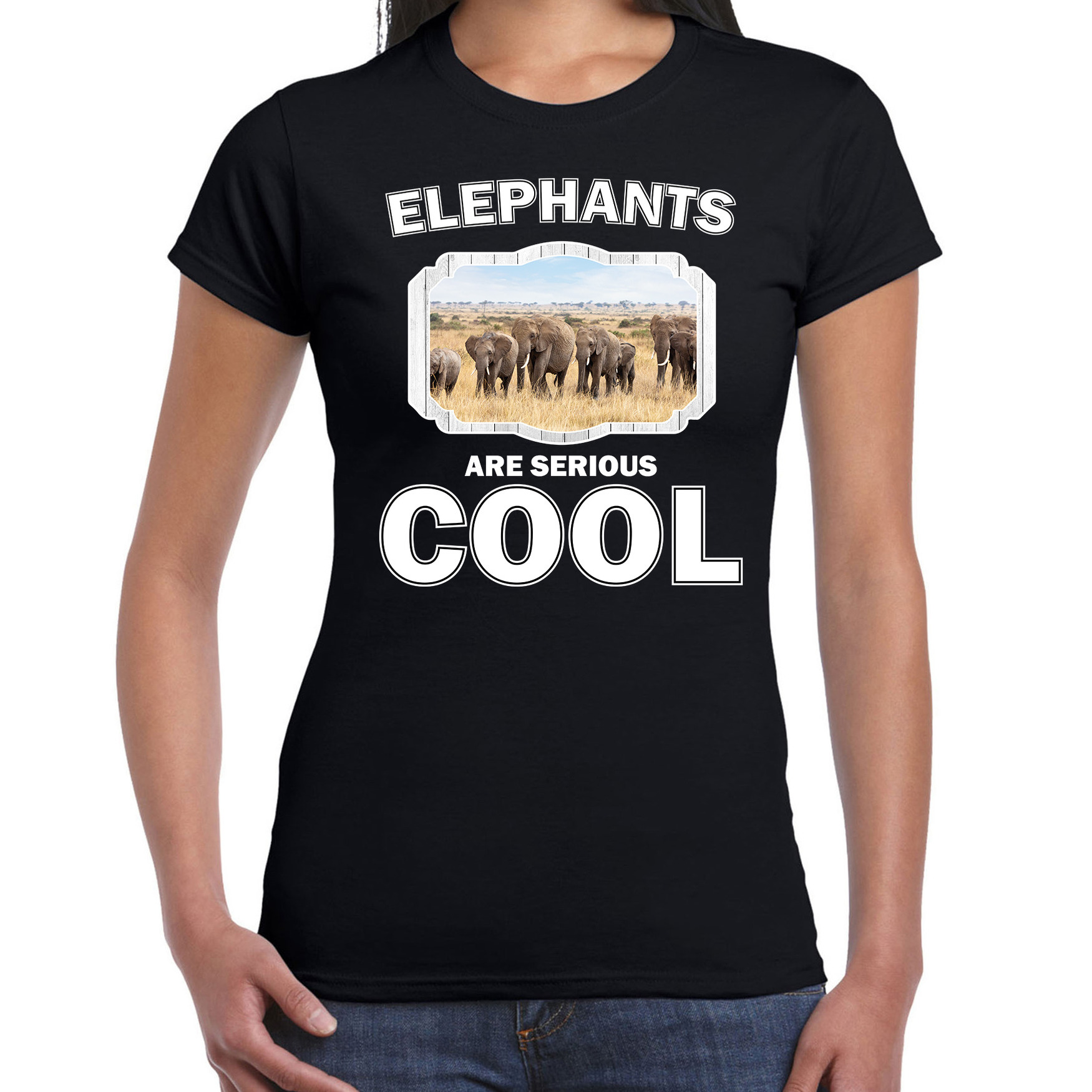 T-shirt elephants are serious cool zwart dames - kudde olifanten/ olifant shirt