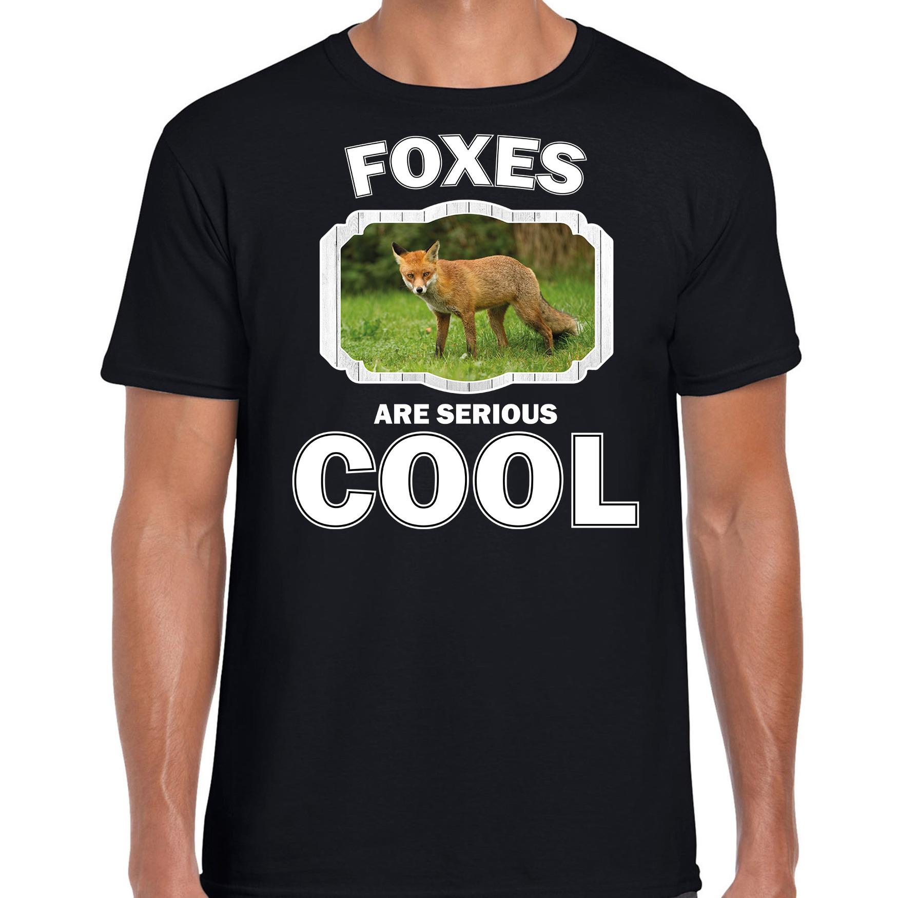 T-shirt foxes are serious cool zwart heren - vossen/ bruine vos shirt