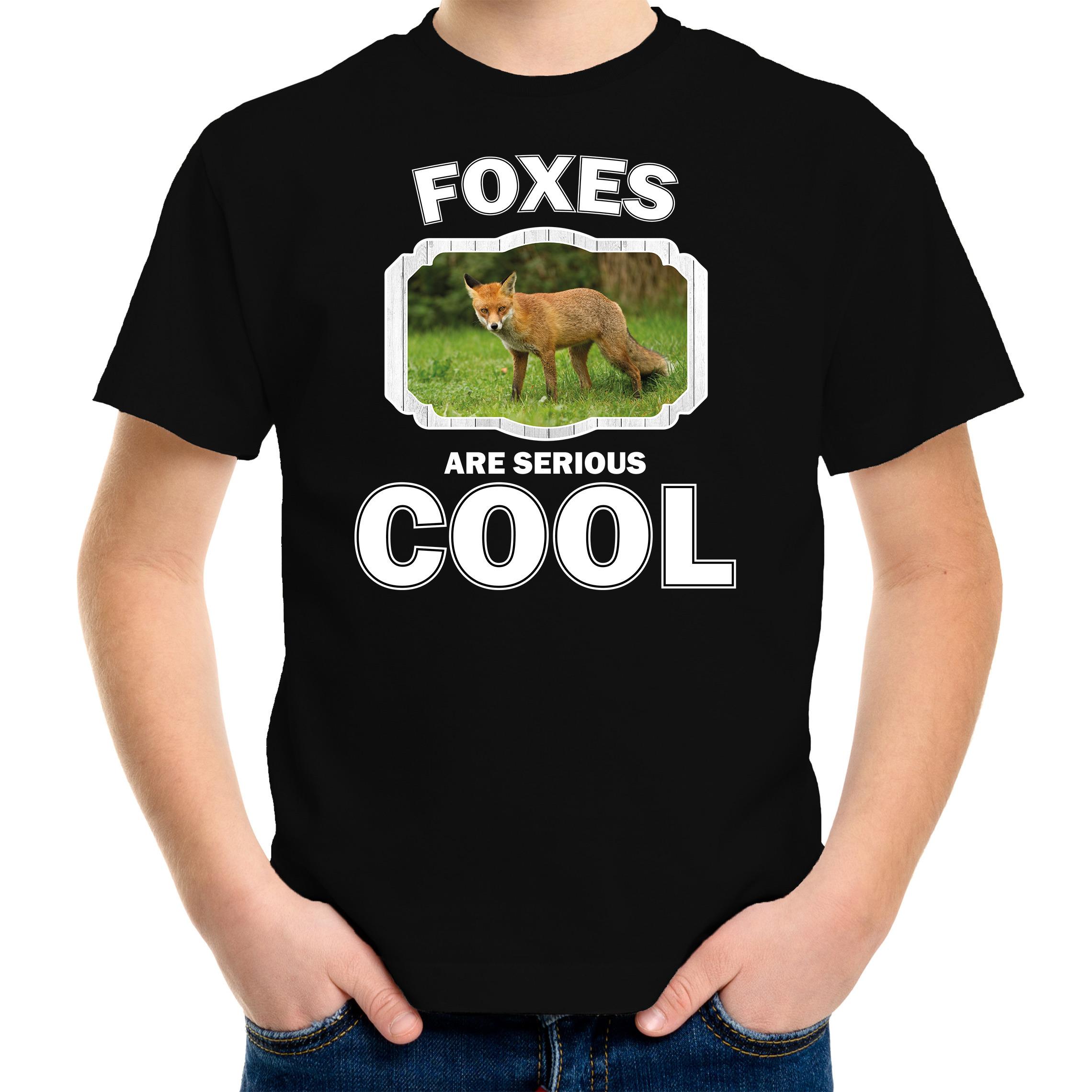 T-shirt foxes are serious cool zwart kinderen - vossen/ bruine vos shirt