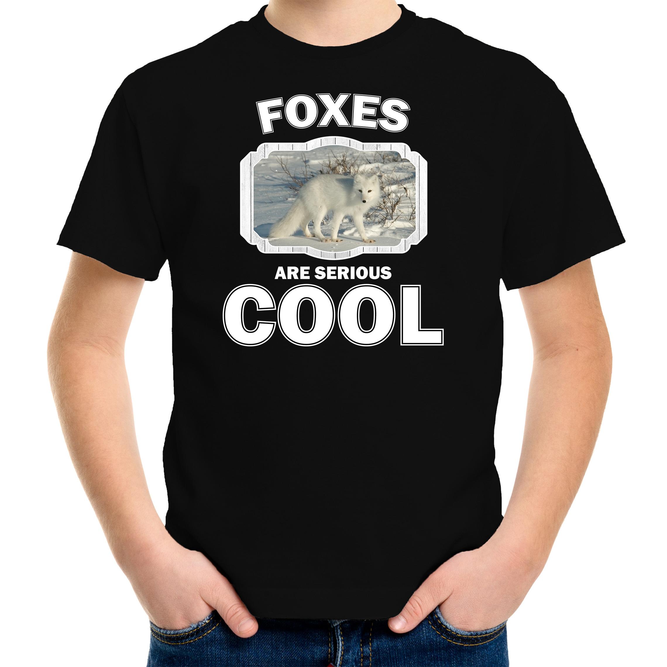 T-shirt foxes are serious cool zwart kinderen - vossen/ poolvos shirt
