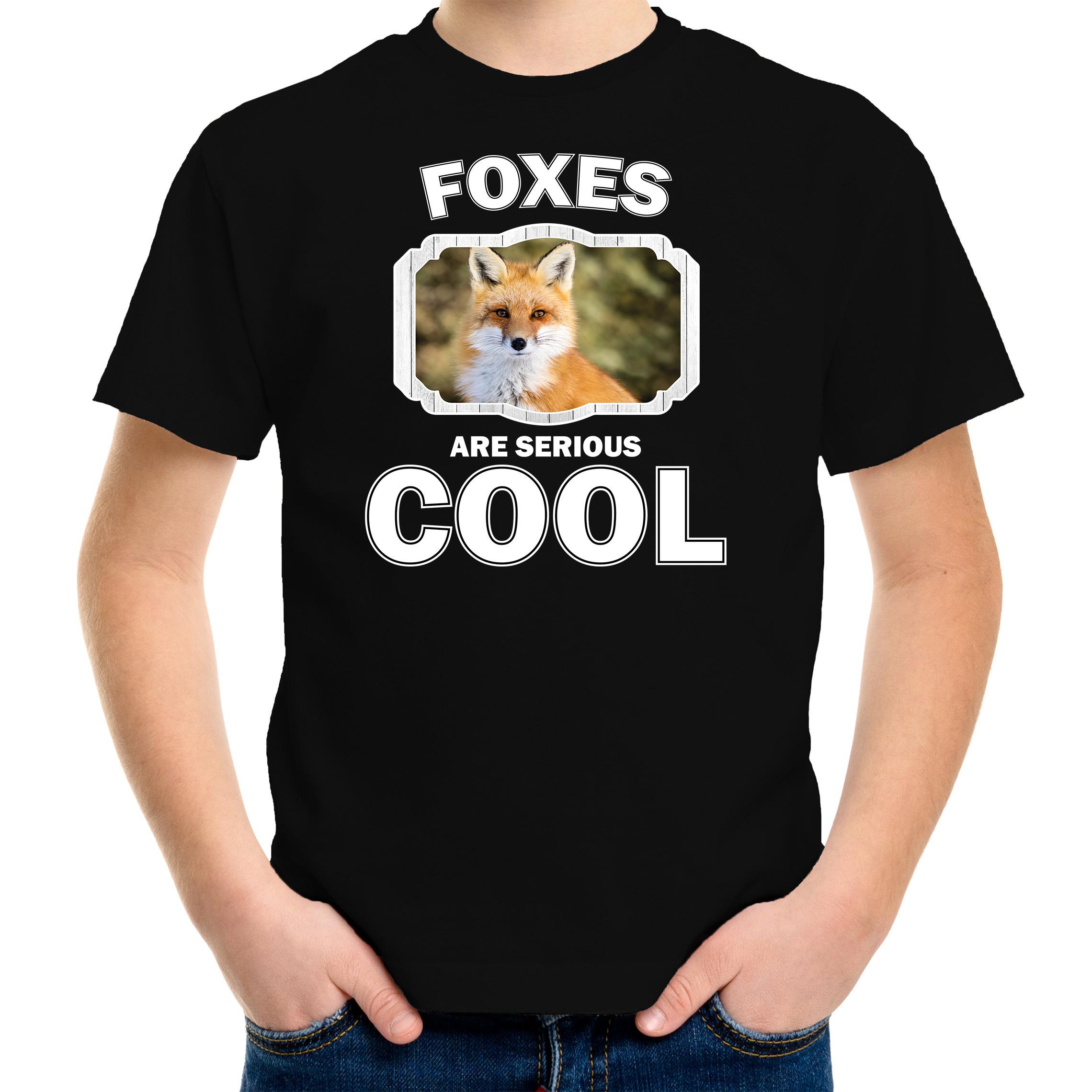 T-shirt foxes are serious cool zwart kinderen - vossen/ vos shirt