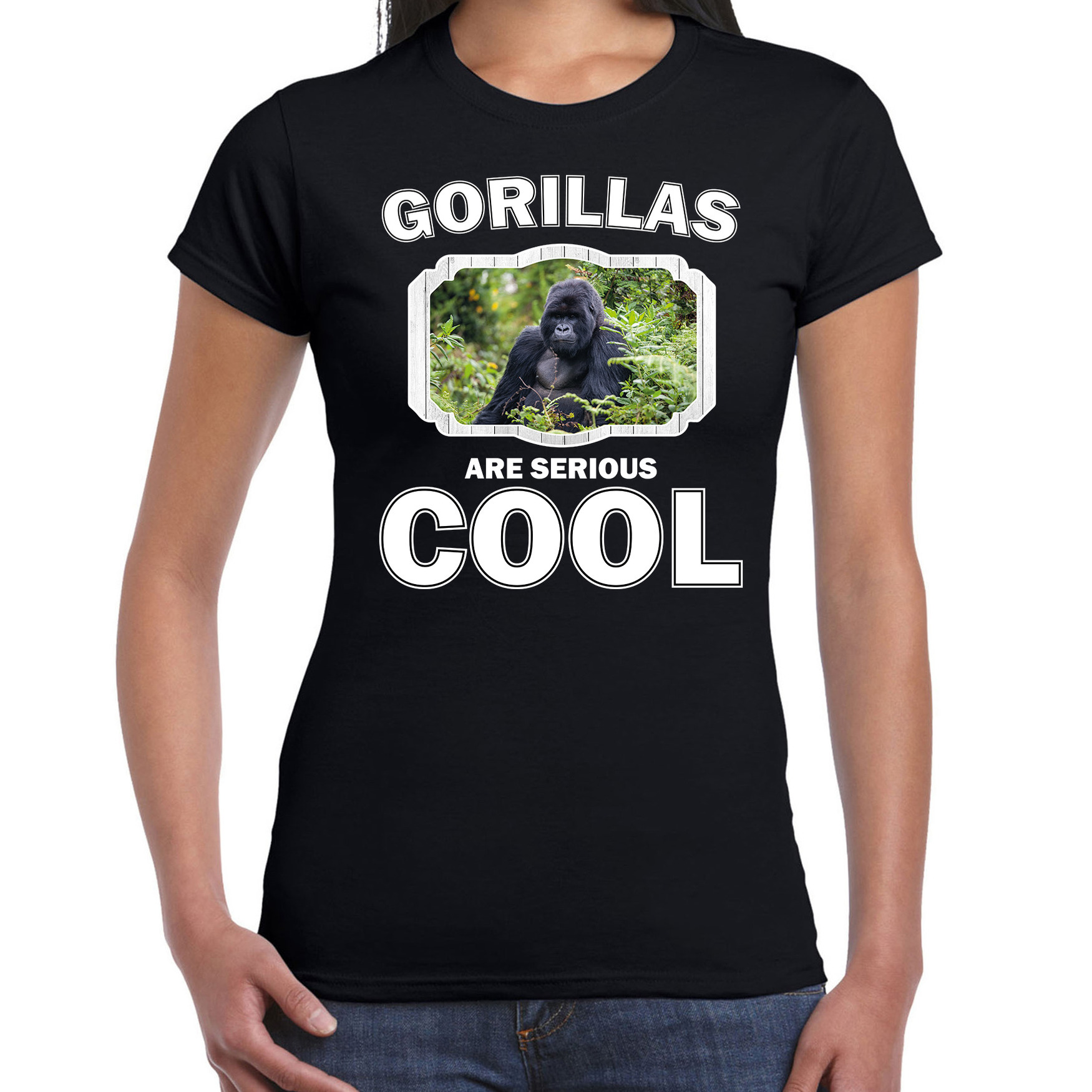 T-shirt gorillas are serious cool zwart dames - gorilla apen/ gorilla shirt