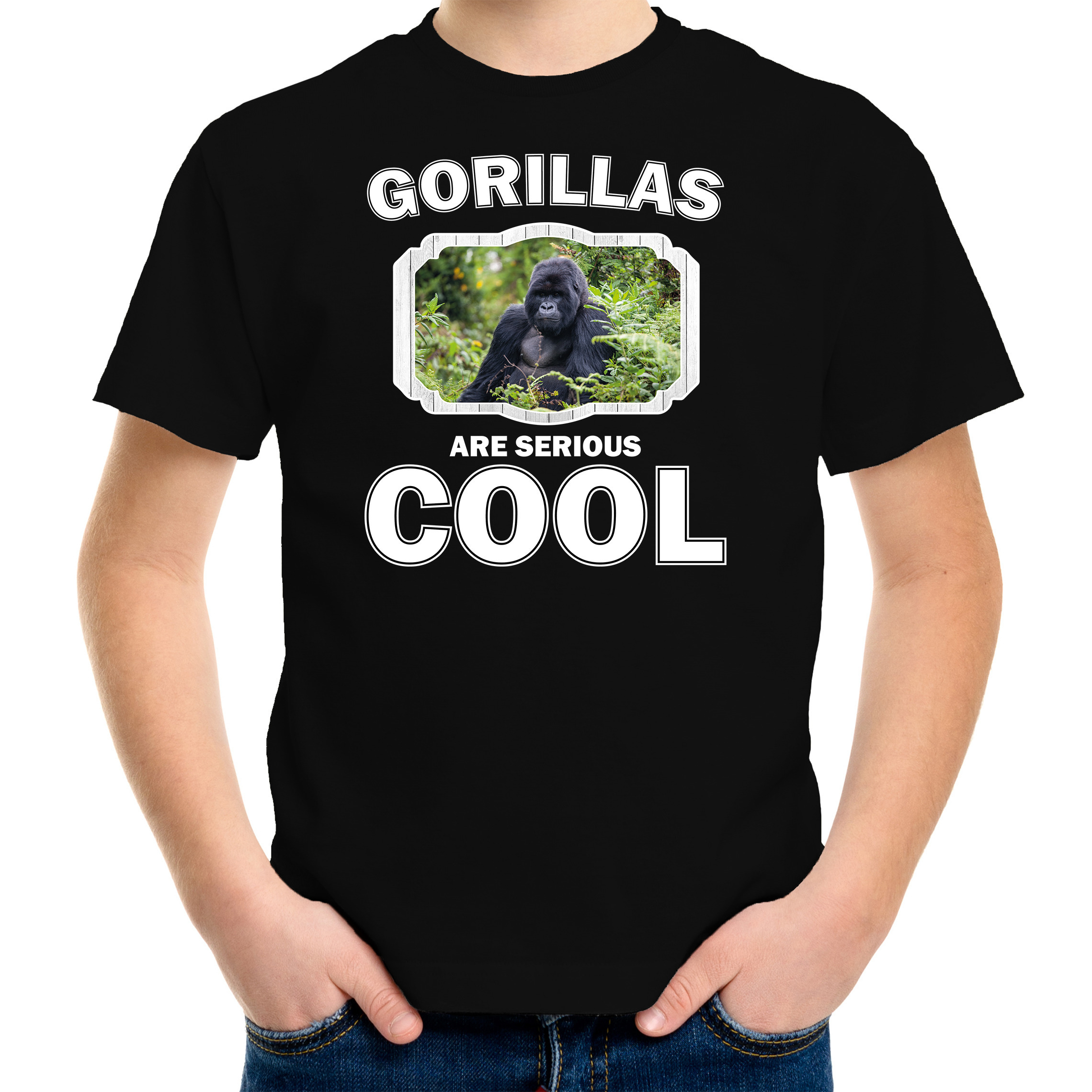 T-shirt gorillas are serious cool zwart kinderen - gorilla apen/ gorilla shirt