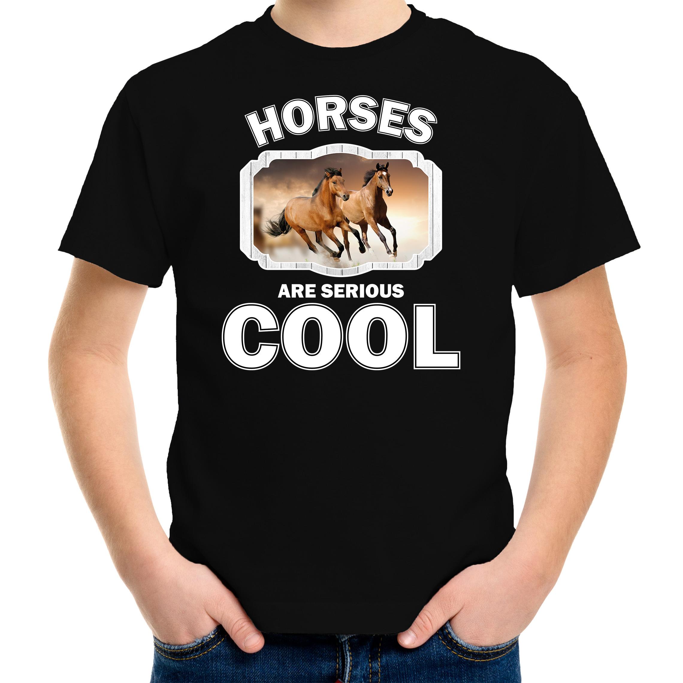 T-shirt horses are serious cool zwart kinderen - paarden/ bruin paard shirt
