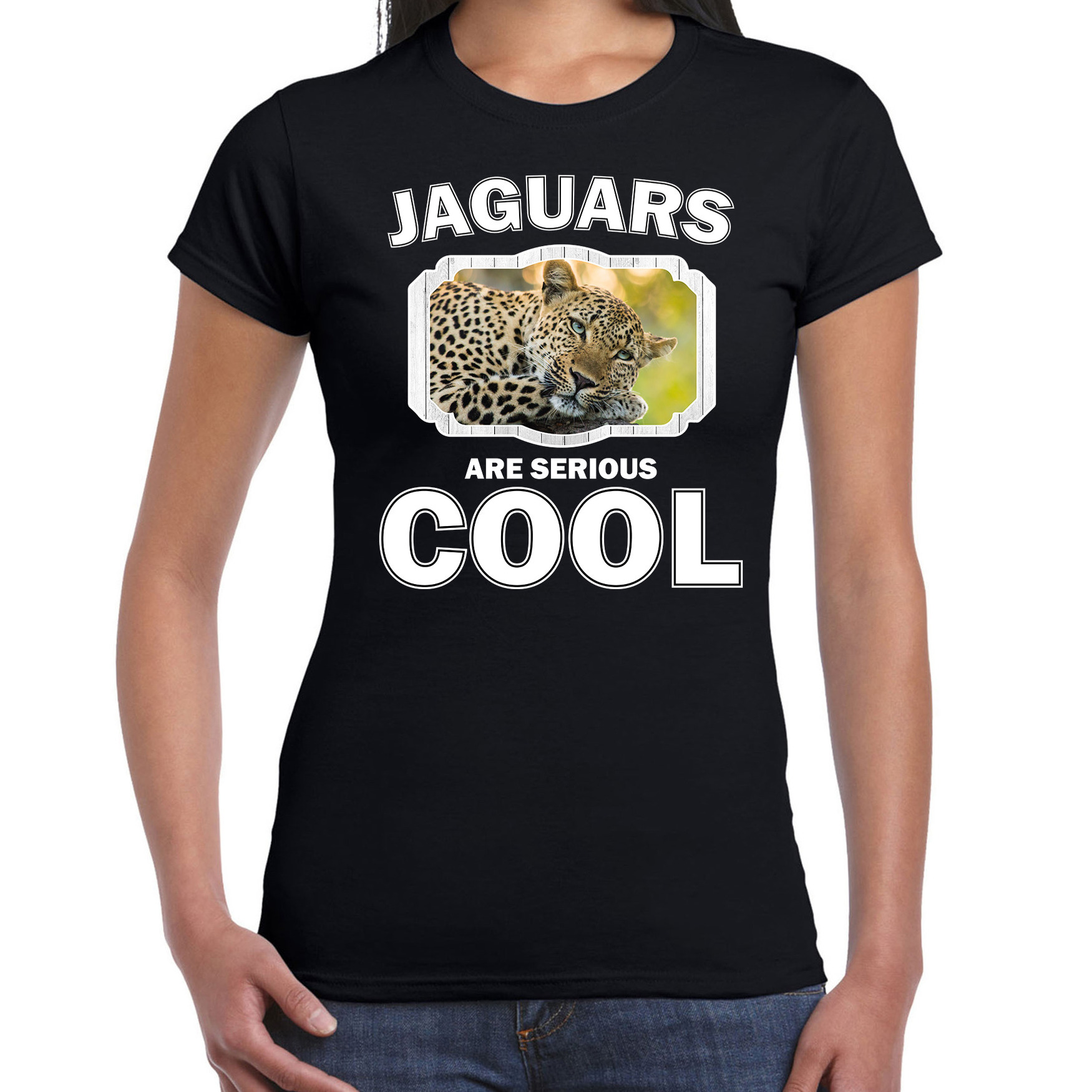 T-shirt jaguars are serious cool zwart dames - jaguars/ luipaarden/ luipaard shirt