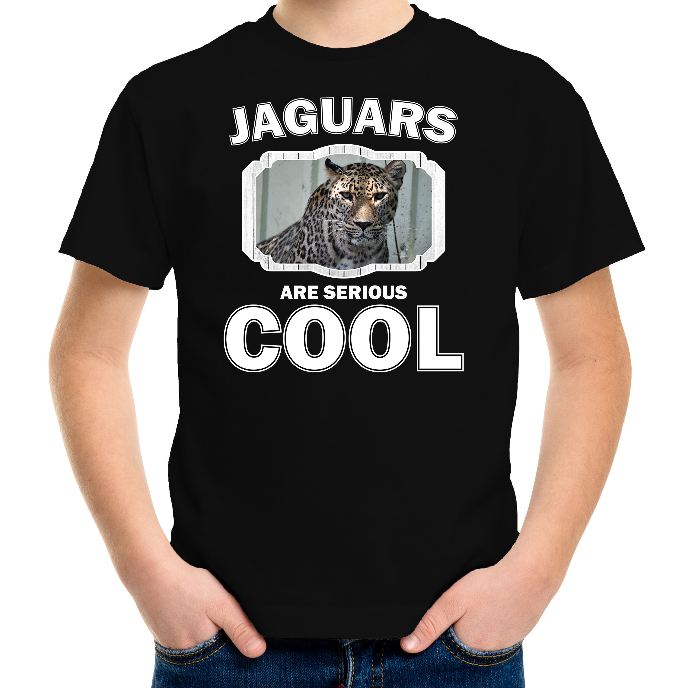 T-shirt jaguars are serious cool zwart kinderen - jaguars/ gevlekte jaguar shirt