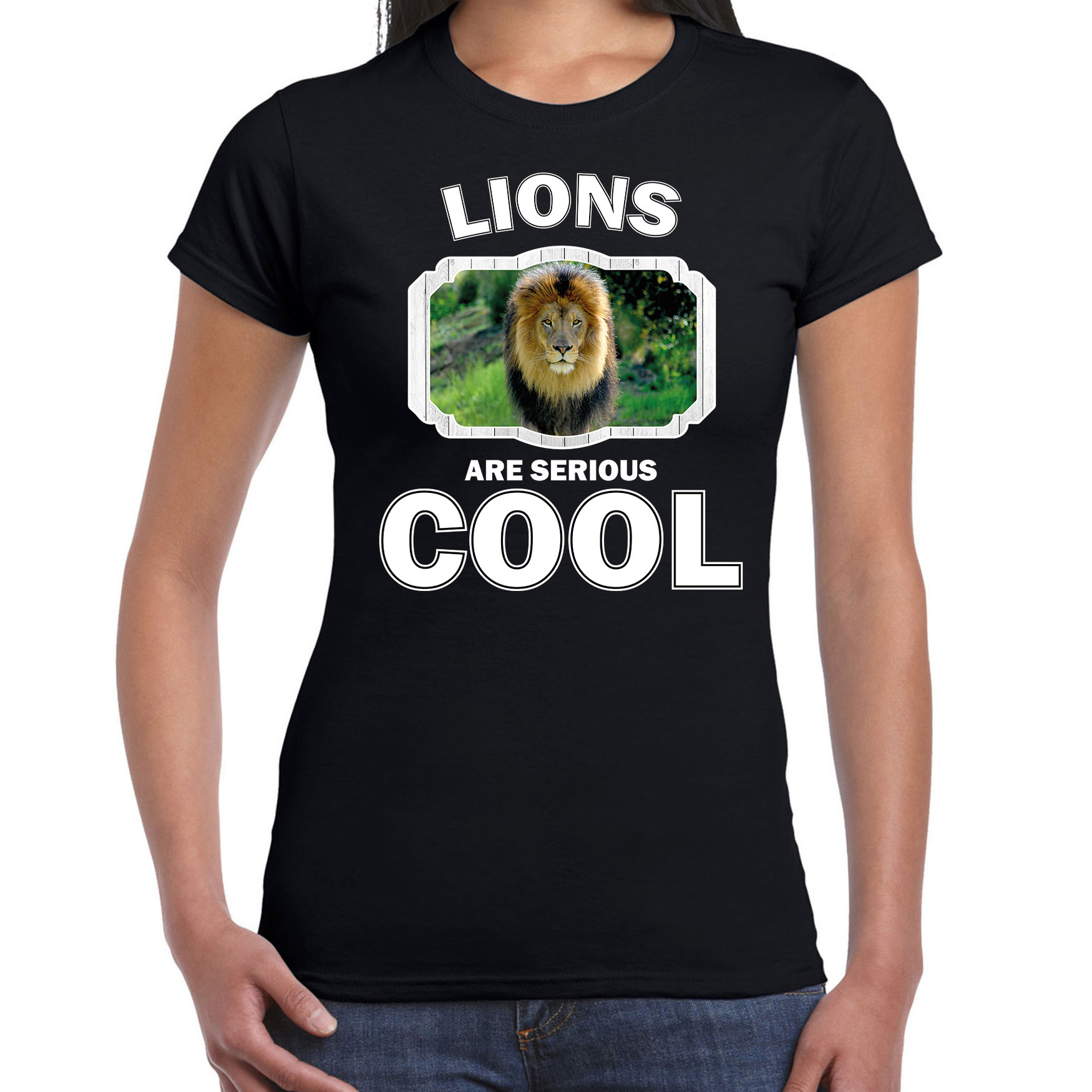 T-shirt lions are serious cool zwart dames - leeuwen/ leeuw shirt
