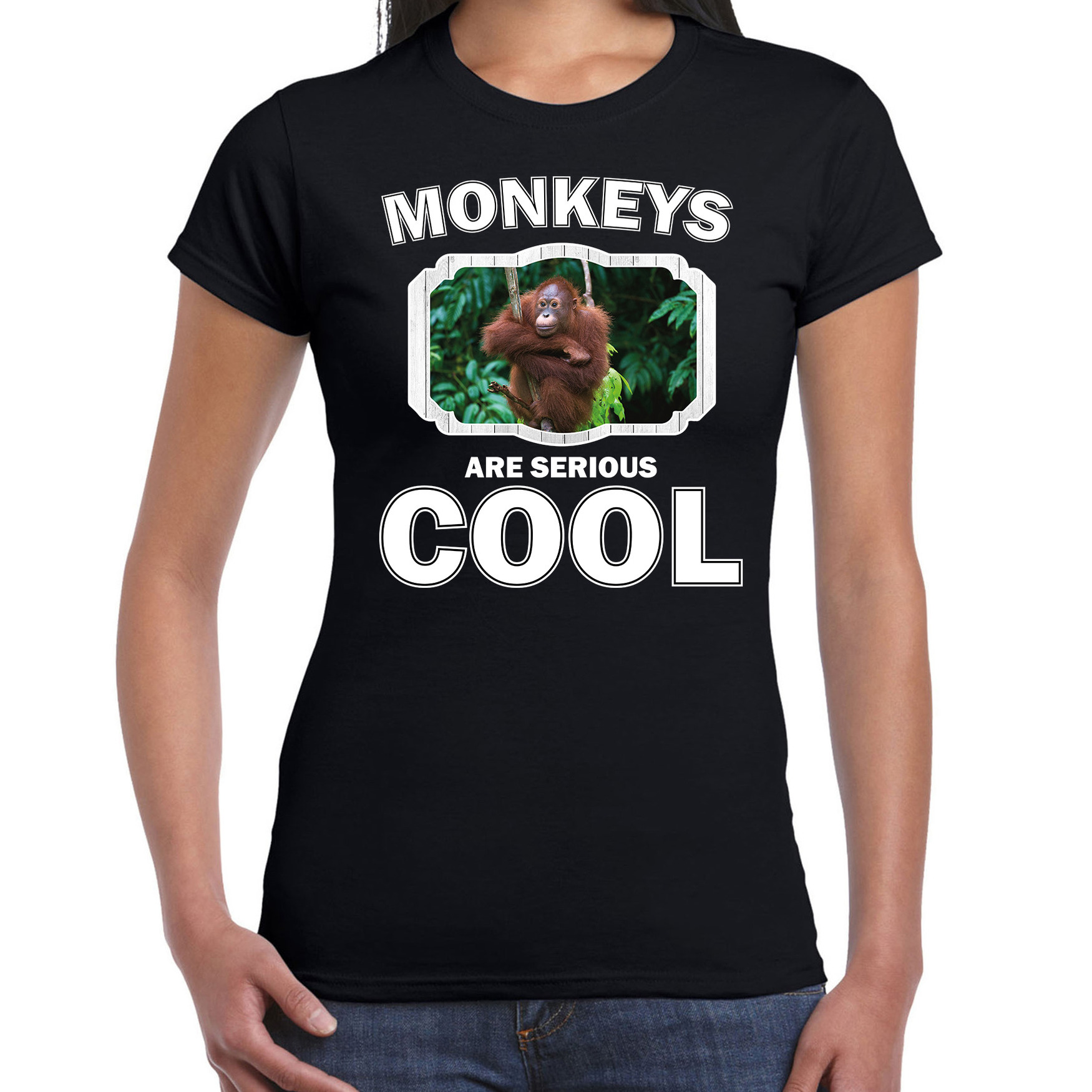 T-shirt monkeys are serious cool zwart dames - Apen/ orang oetan shirt