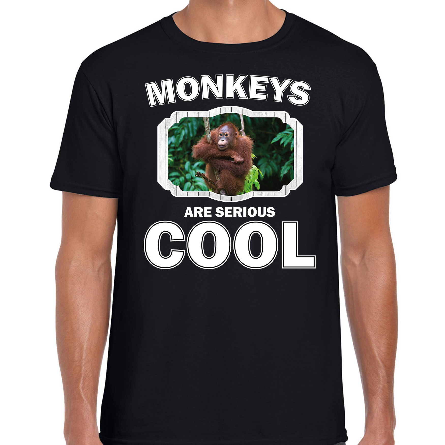 T-shirt monkeys are serious cool zwart heren - Apen/ orangoetan shirt