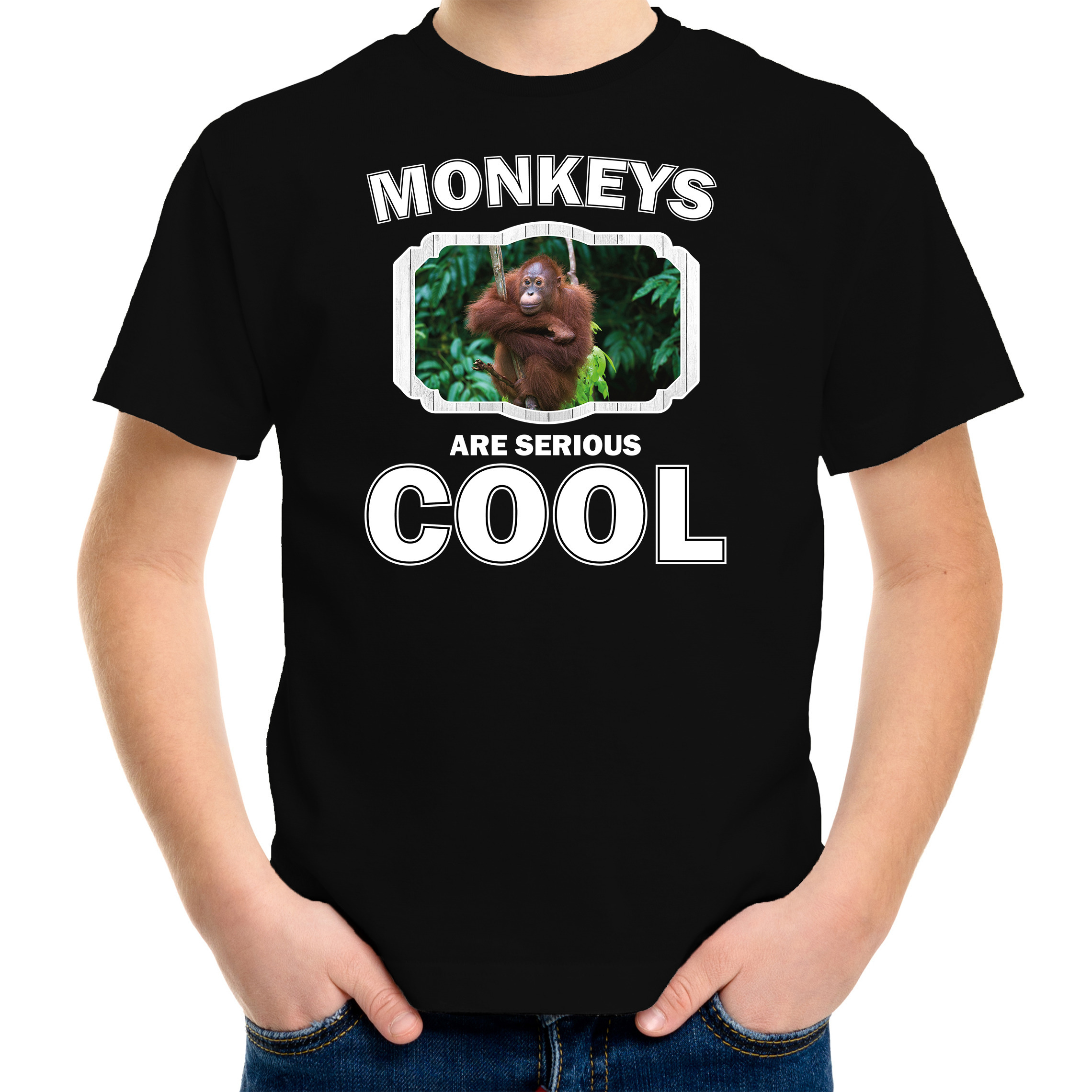 T-shirt monkeys are serious cool zwart kinderen - Apen/ orangoetan shirt