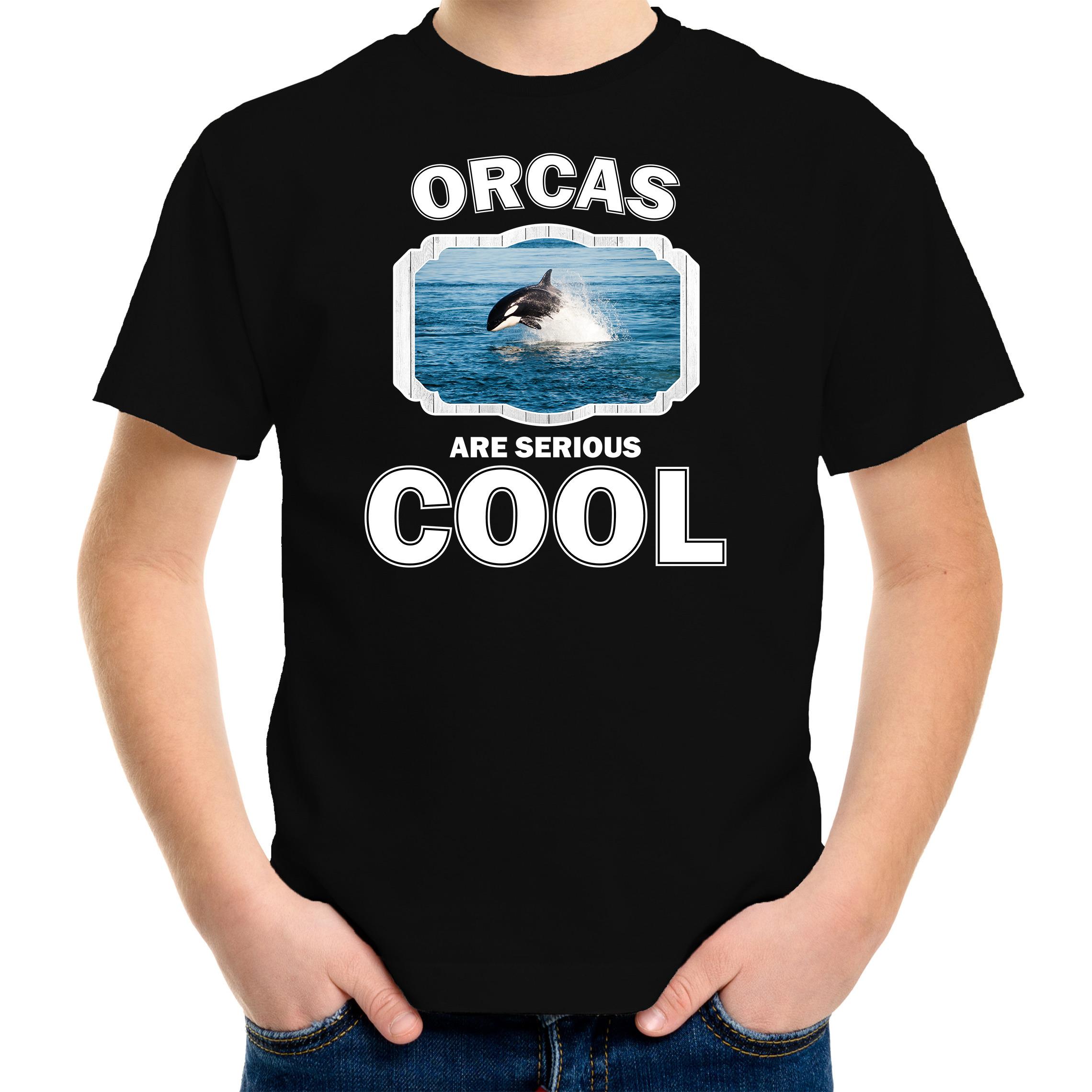 T-shirt orcas are serious cool zwart kinderen - orka vissen/ orka shirt