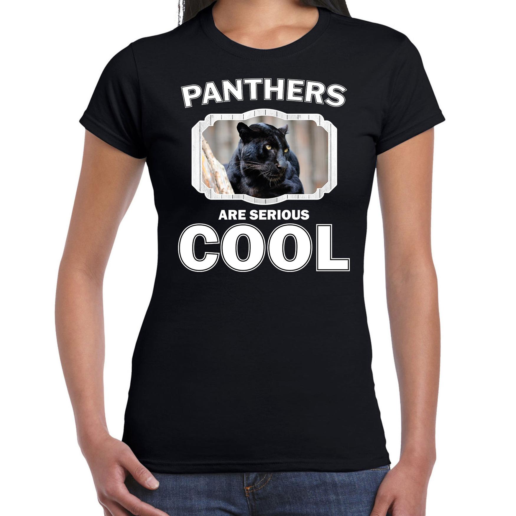 T-shirt panthers are serious cool zwart dames - panters/ zwarte panter shirt