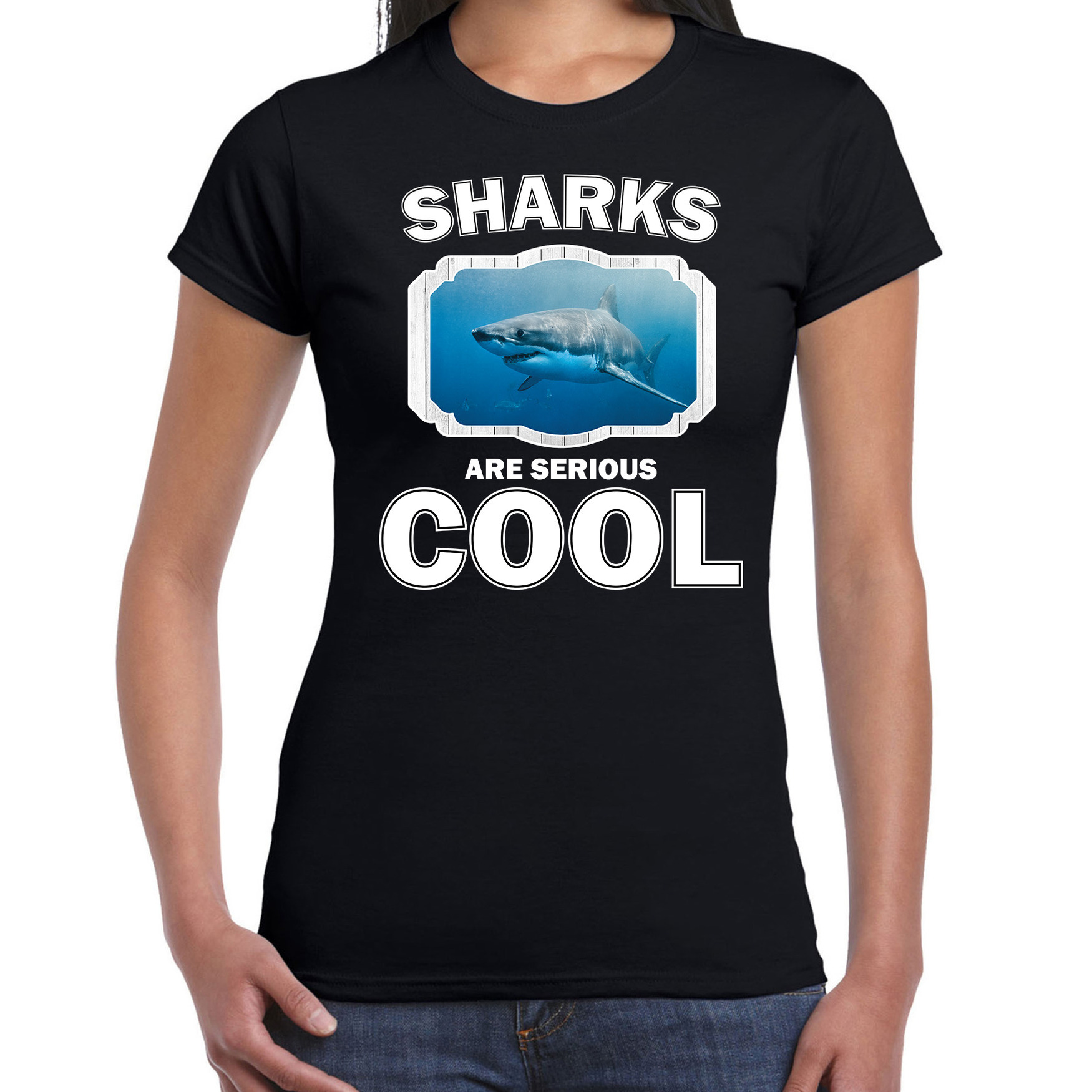 T-shirt sharks are serious cool zwart dames - haaien/ haai shirt