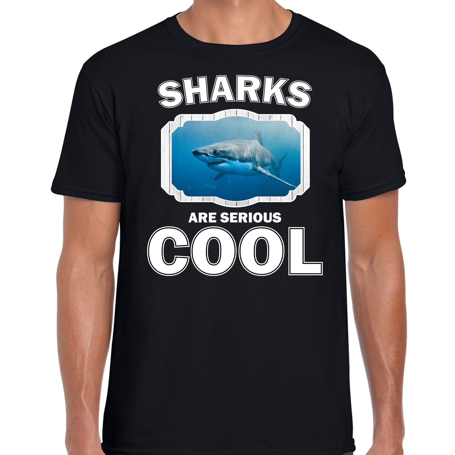 T-shirt sharks are serious cool zwart heren - haaien/ haai shirt