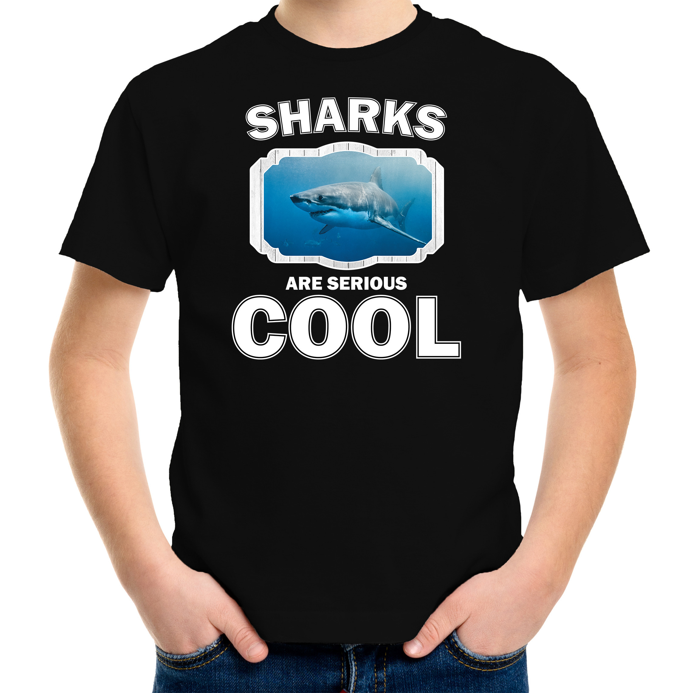 T-shirt sharks are serious cool zwart kinderen - haaien/ haai shirt