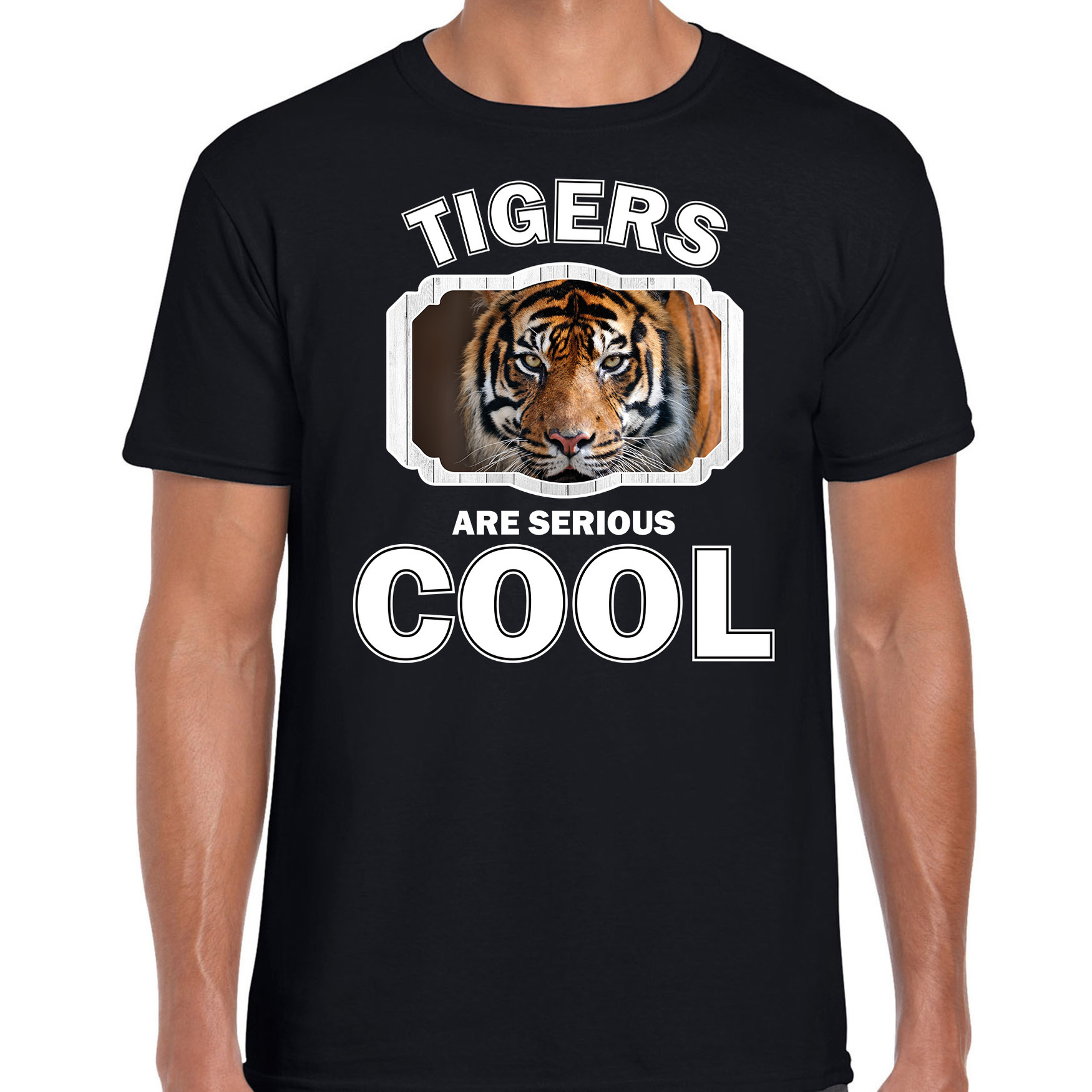 T-shirt tigers are serious cool zwart heren - tijgers/ tijger shirt