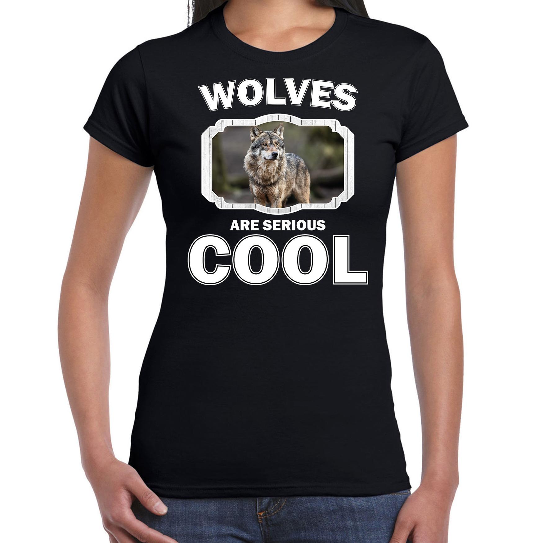 T-shirt wolfs are serious cool zwart dames - wolven/ wolf shirt
