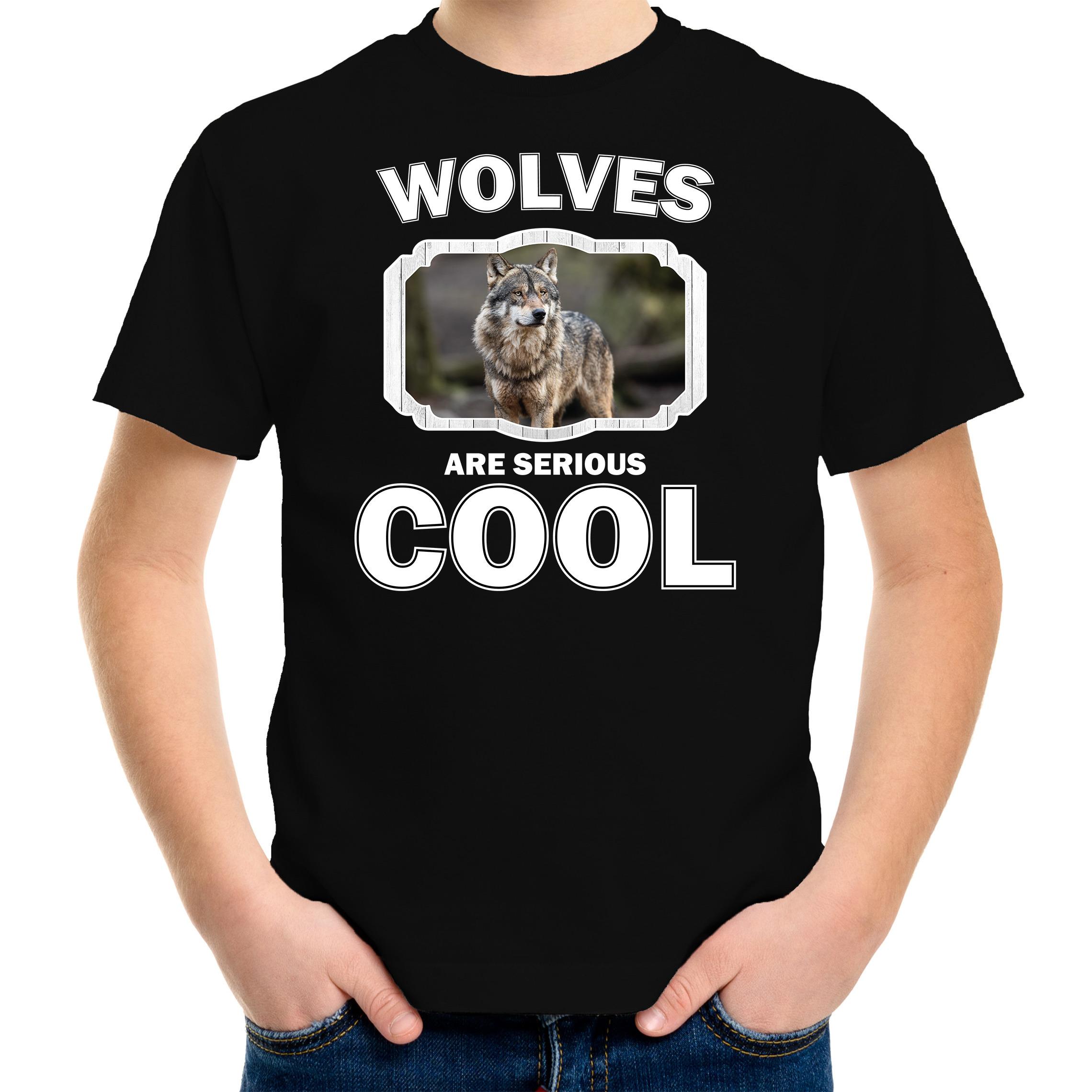 Afbeelding T-shirt wolfs are serious cool zwart kinderen - wolven/ wolf shirt door Animals Giftshop