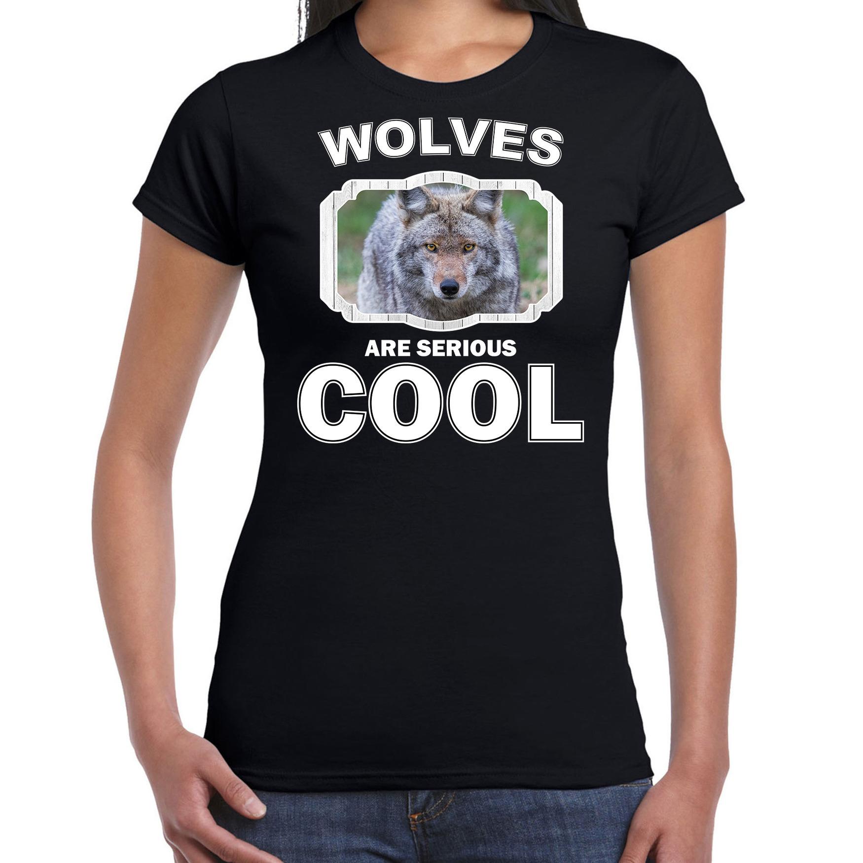 T-shirt wolves are serious cool zwart dames - wolven/ wolf shirt