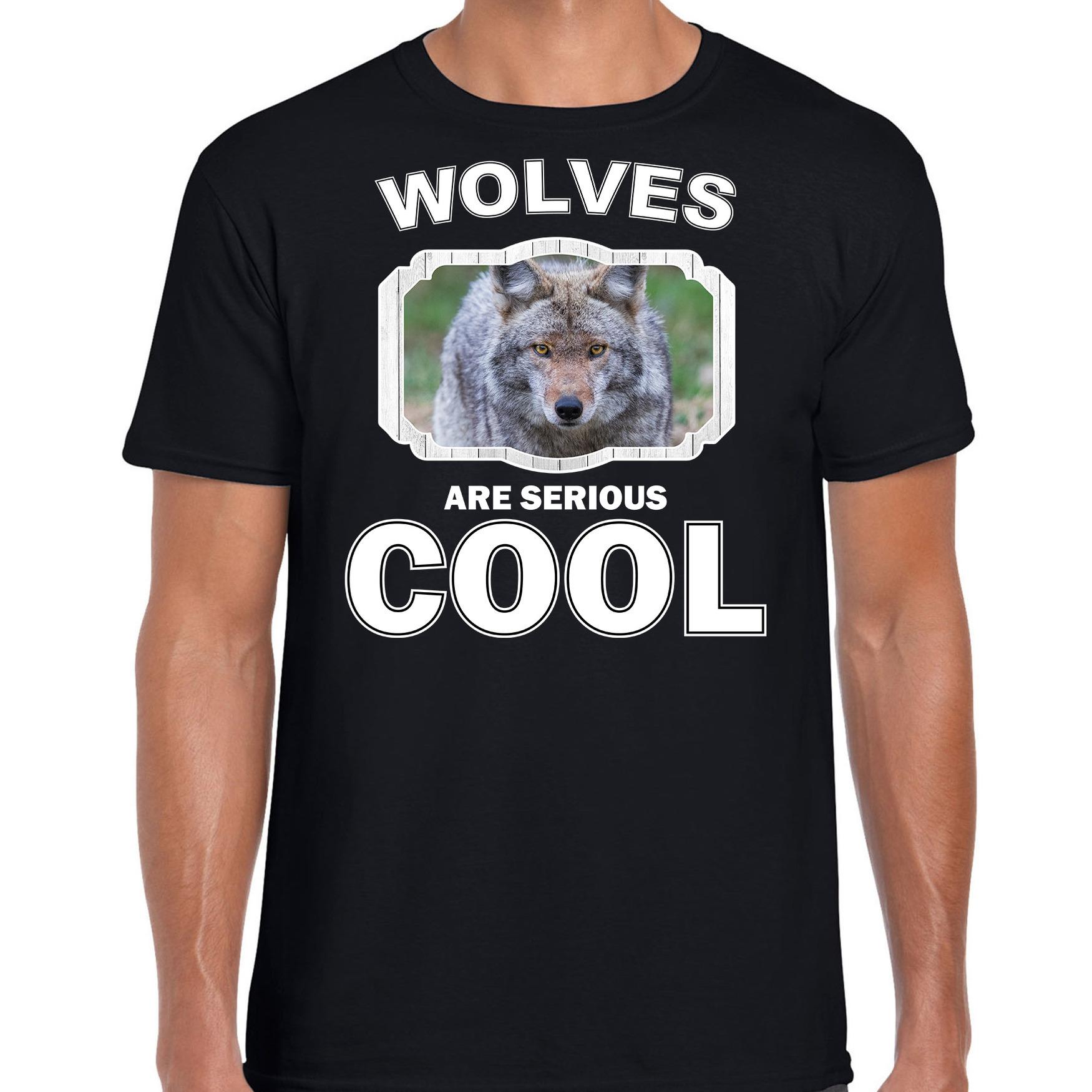 T-shirt wolves are serious cool zwart heren - wolven/ wolf shirt