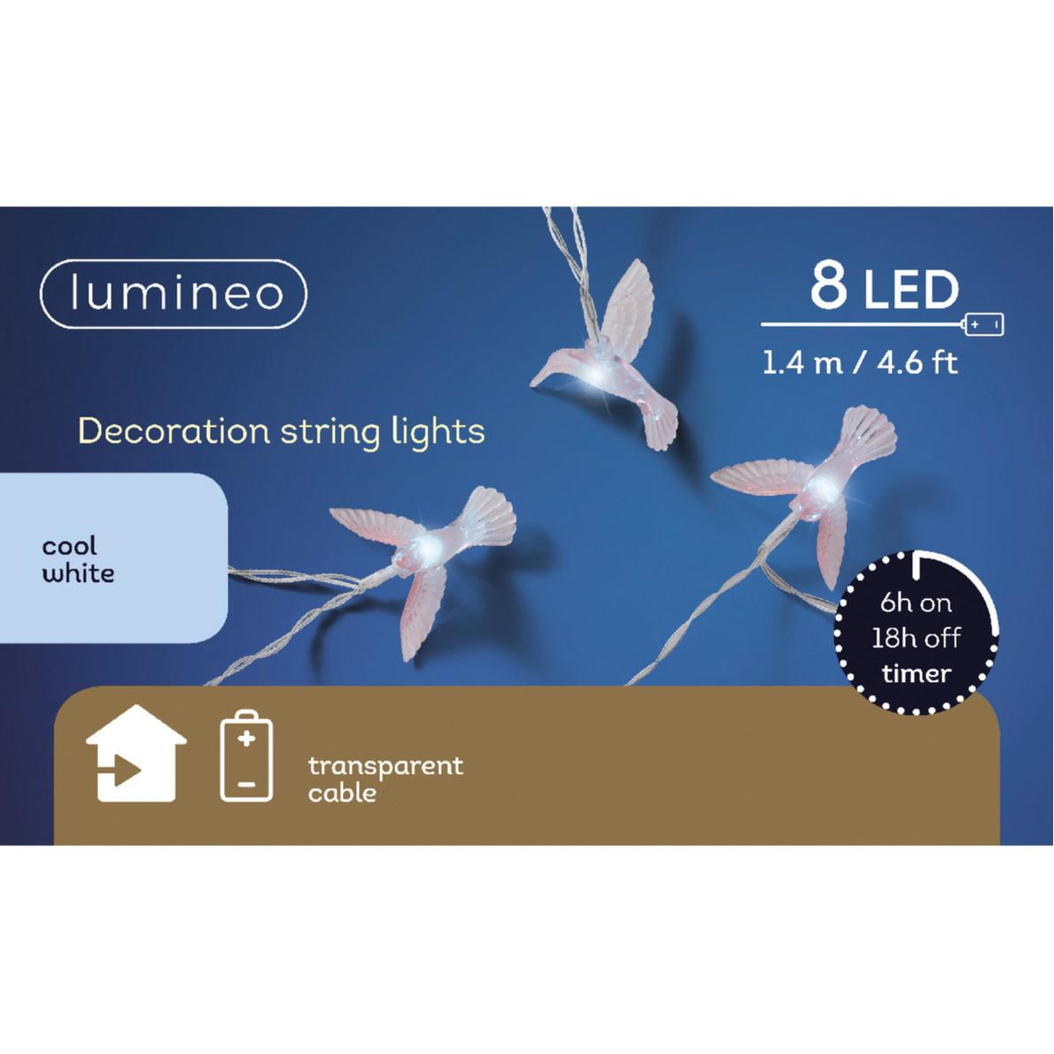 Thema lichtsnoeren met 8 kolibrie vogels 140 cm