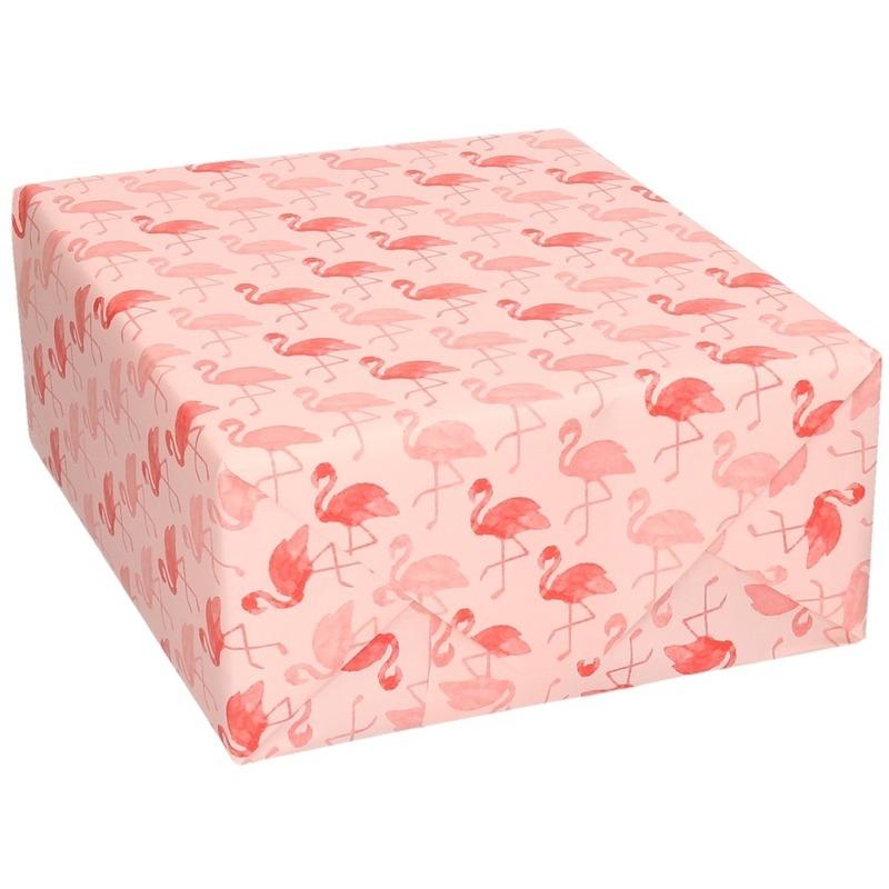 Verjaardag kadopapier roze met flamingo vogels print 200 x 70 cm