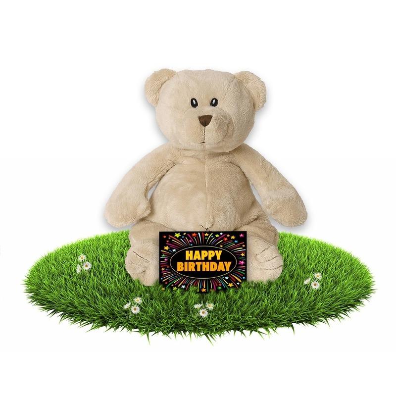 Verjaardagscadeau knuffel beer 17 cm met gratis wenskaart