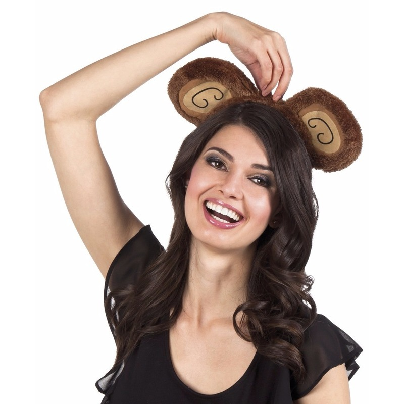 Verkleed aap hoofdband bruin voor volwassenen