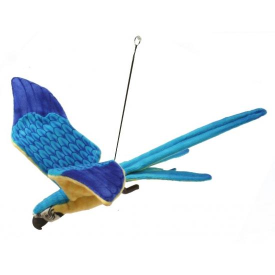 Vliegende pluche papegaai blauw / geel