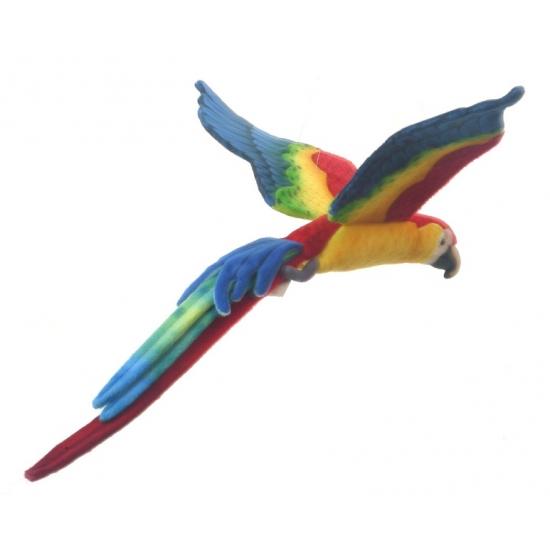 Vliegende pluche papegaai gekleurd